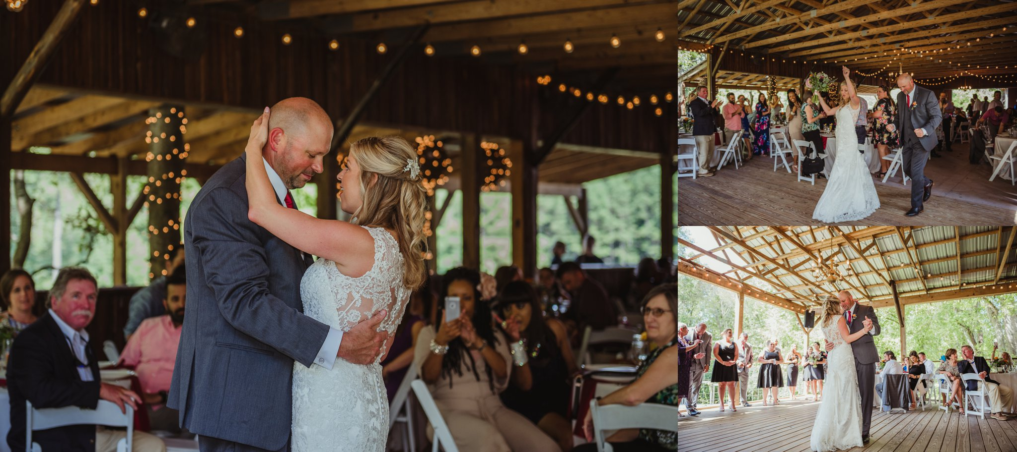 The bride and groom have a first dance during their wedding reception at Cedar Grove Acres near Raleigh, pictures by Rose Trail Images.