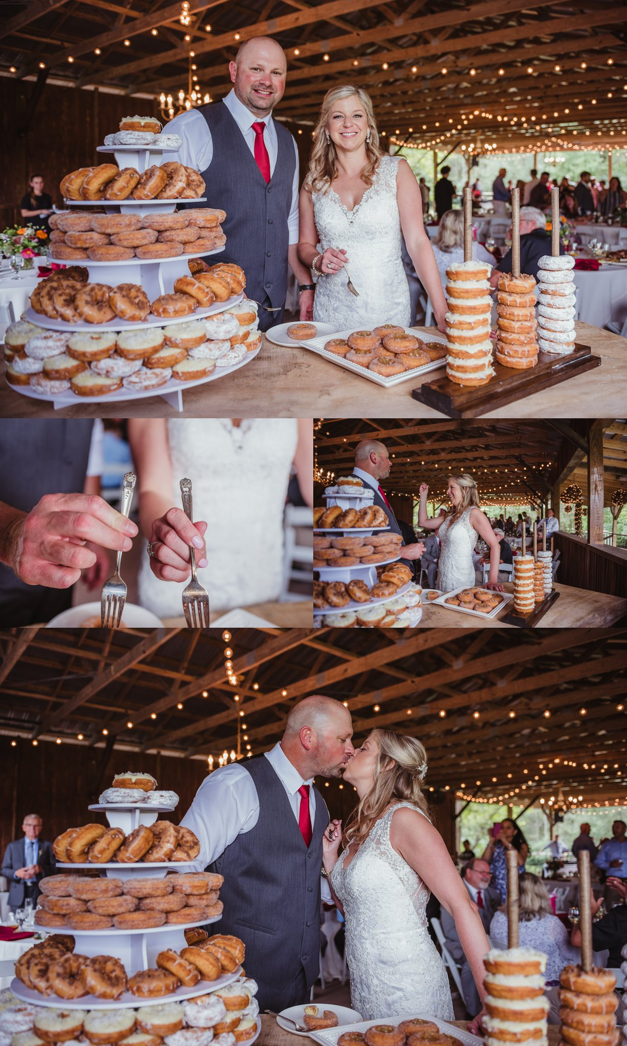 The bride and groom cut a donut instead of cake during their wedding reception at Cedar Grove Acres near Raleigh, pictures by Rose Trail Images.