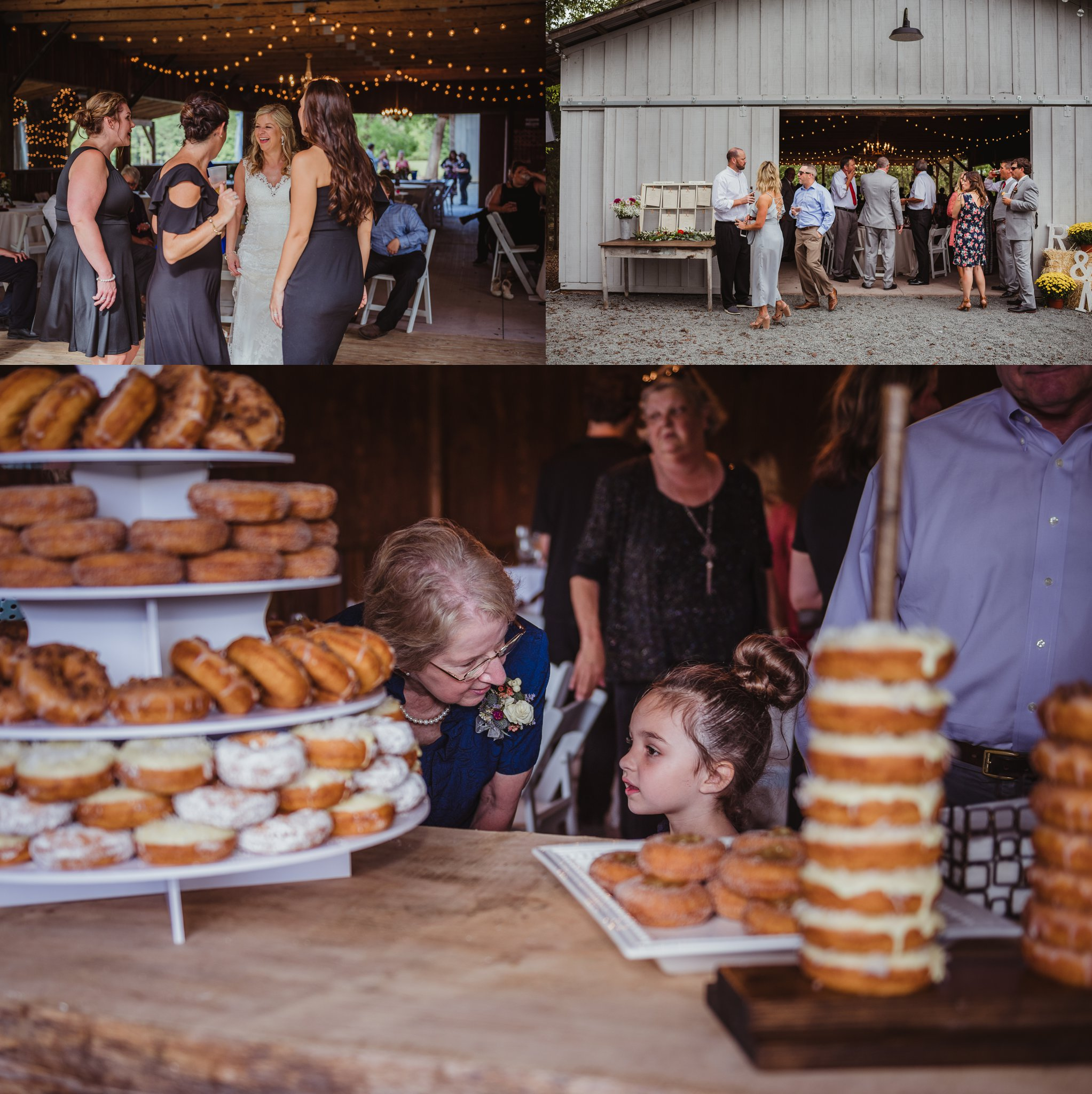 The bride and groom have fun with their guests during their wedding reception at Cedar Grove Acres near Raleigh, pictures by Rose Trail Images.