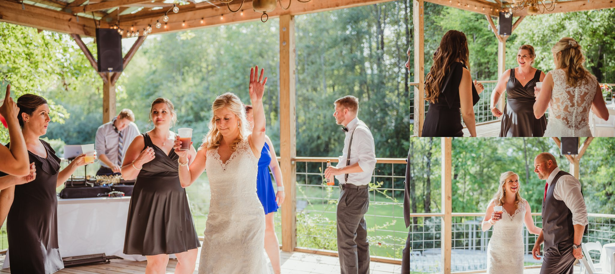 The bride and groom danced with guests during their wedding reception at Cedar Grove Acres near Raleigh, pictures by Rose Trail Images.