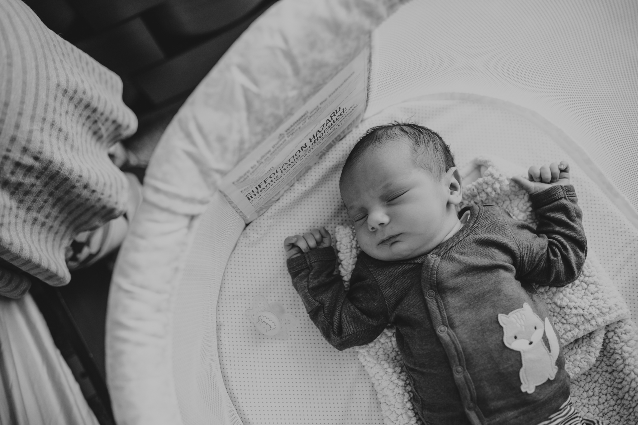 The new baby lays in a bassinet in his parents' room in Wake Forest, a black and white image by Rose Trail Images.