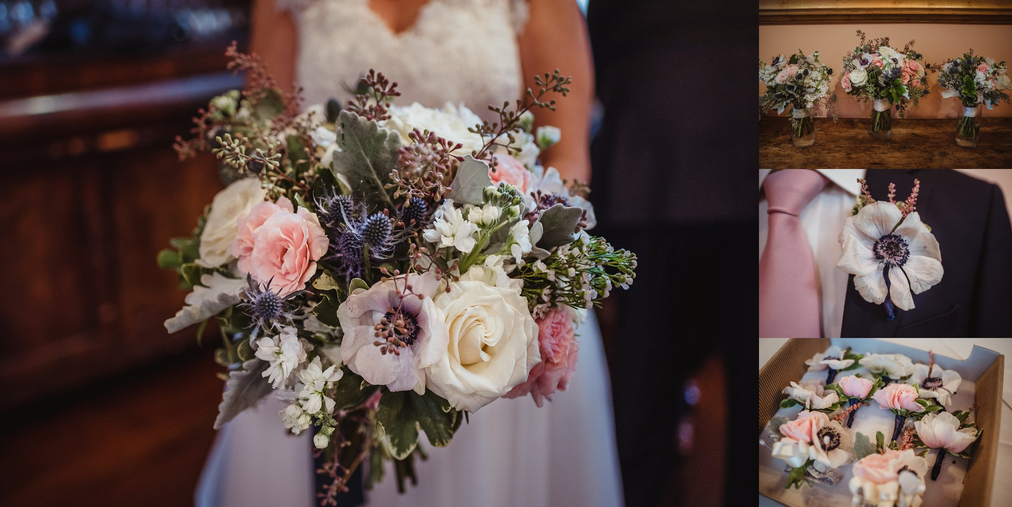 The bride's bouquet, as well as all the bridesmaids flowers, included thistles, white and pink roses, and lots of greenery, pictures taken by Rose Trail Images at Caffe Luna in Raleigh, NC.