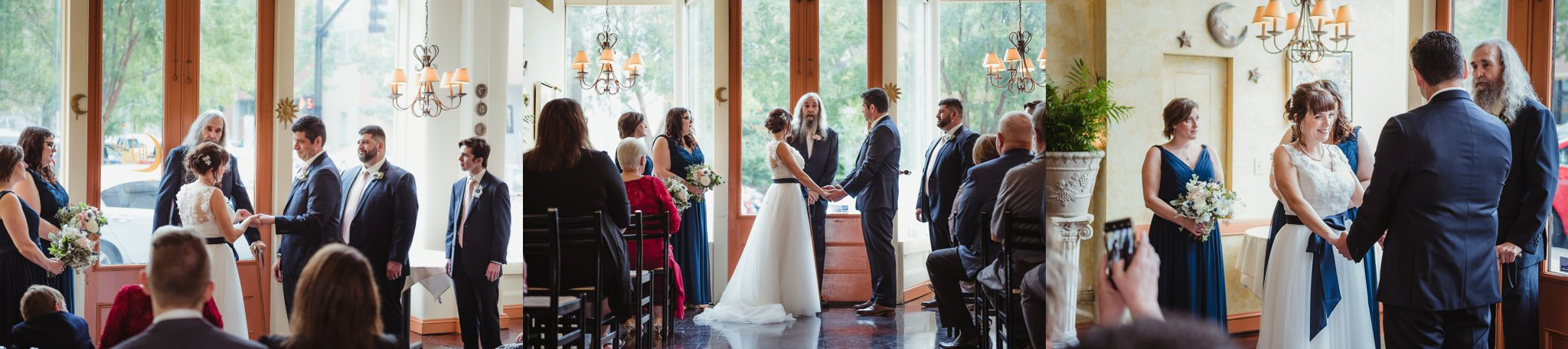 The bride and groom exchanged rings and vows during their wedding ceremony, pictures taken by Rose Trail Images at Caffe Luna in Raleigh, NC.