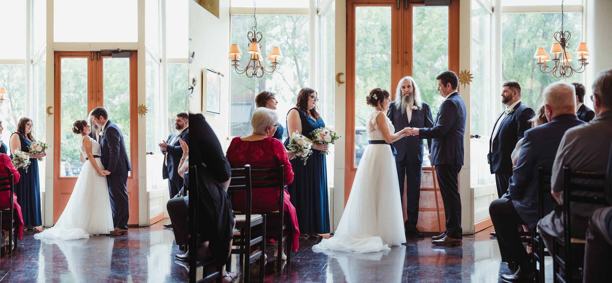 The bride and groom exchanged vows during their wedding ceremony, pictures taken by Rose Trail Images at Caffe Luna in Raleigh, NC.