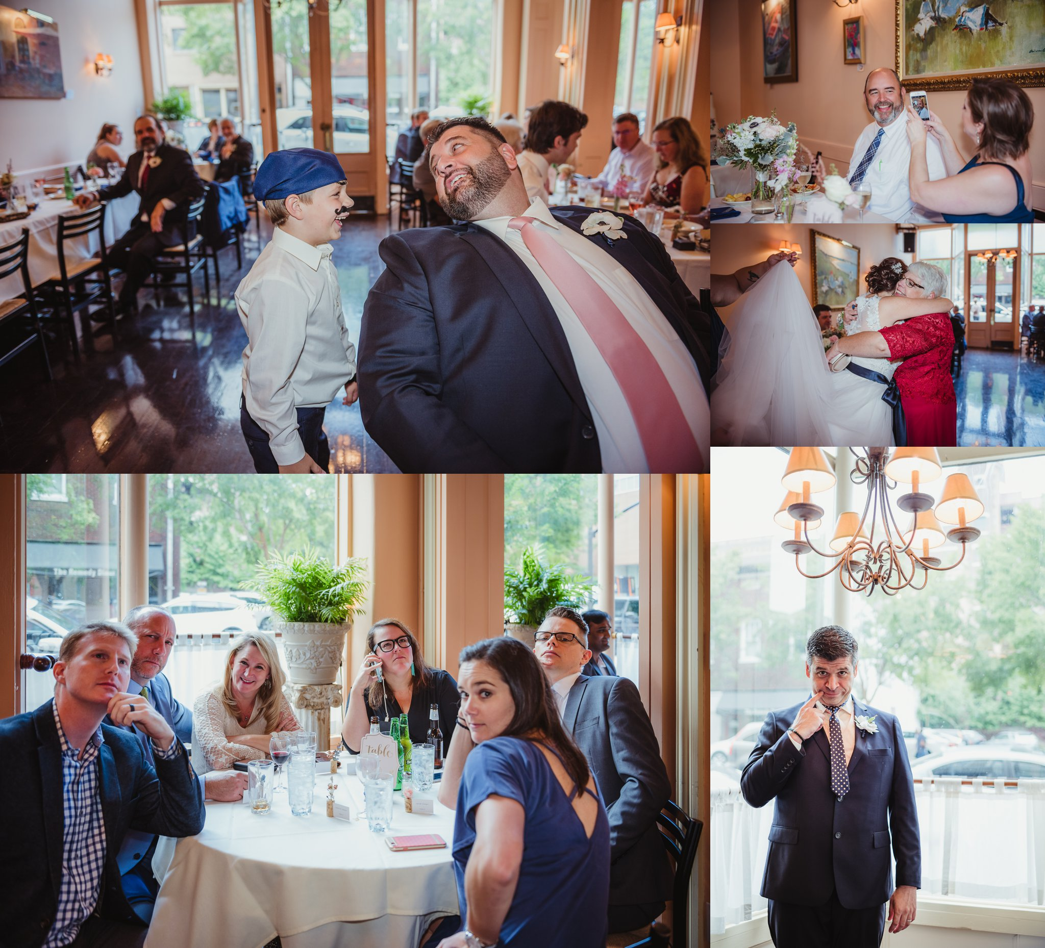 Guests were having a lot of fun during the wedding reception at Caffe Luna, pictures taken by Rose Trail Images in Raleigh, NC.