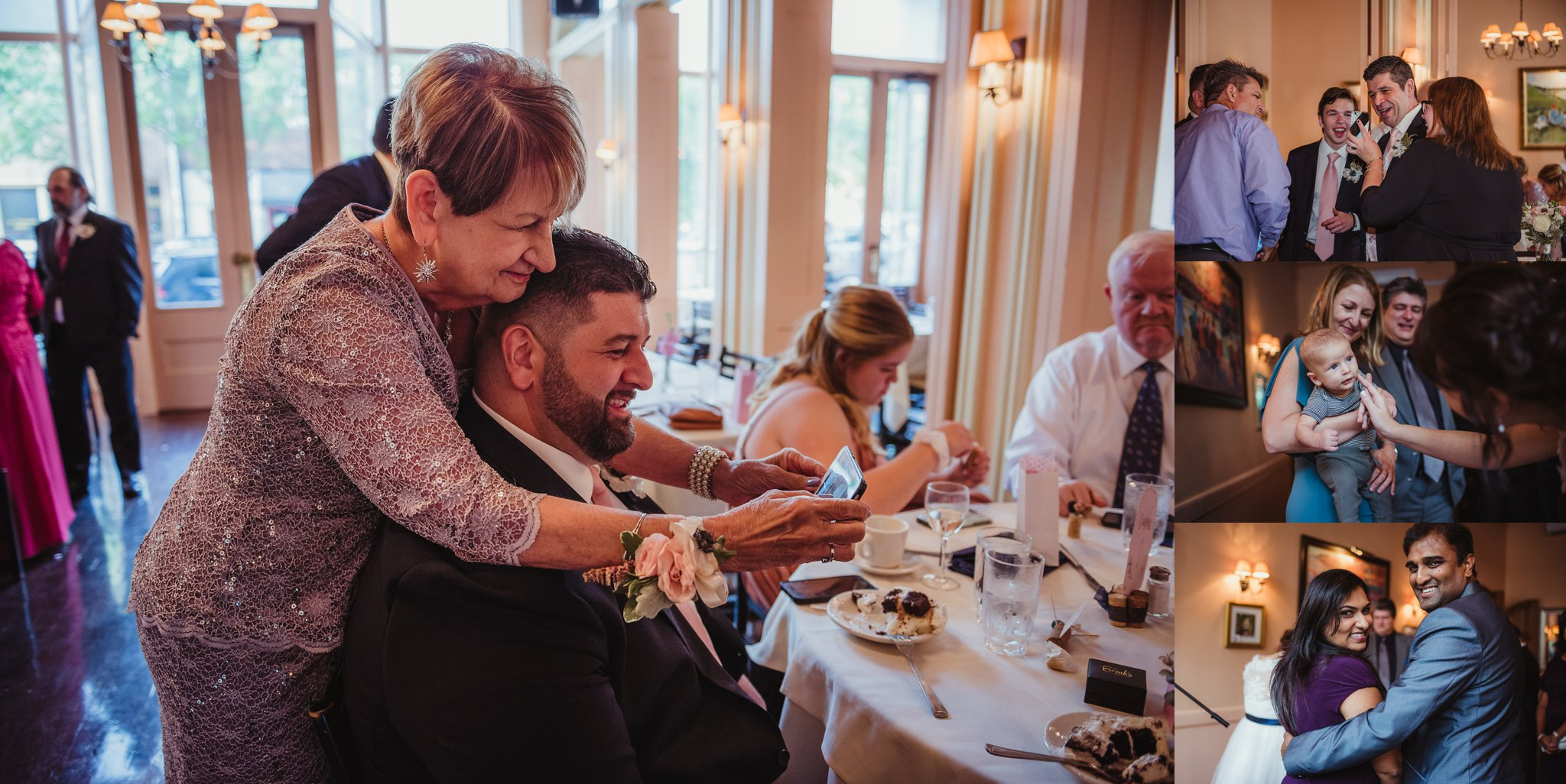 Guests were having a lot of fun laughing and interacting during the wedding reception at Caffe Luna, pictures taken by Rose Trail Images in Raleigh, NC.
