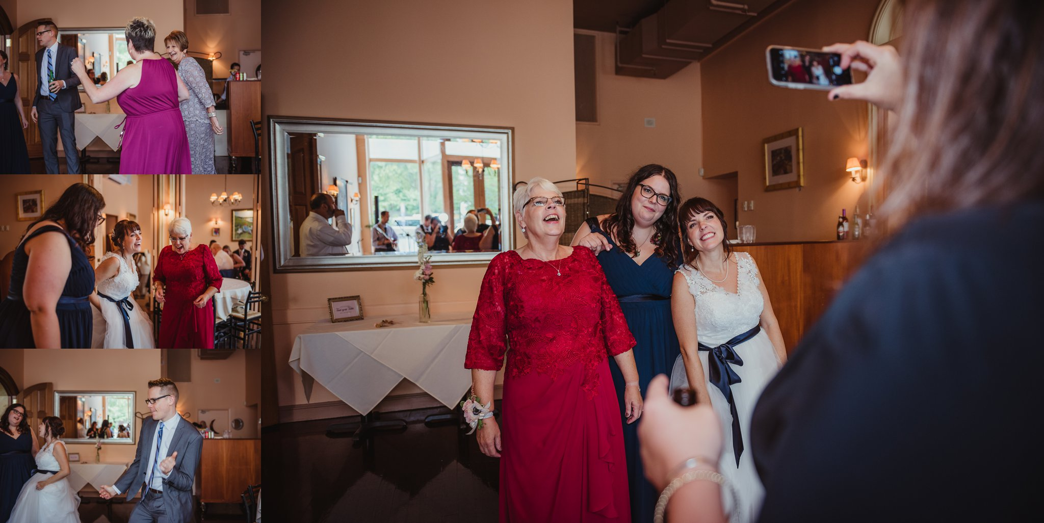 Guests were having a lot of fun dancing during the wedding reception at Caffe Luna, pictures taken by Rose Trail Images in Raleigh, NC.