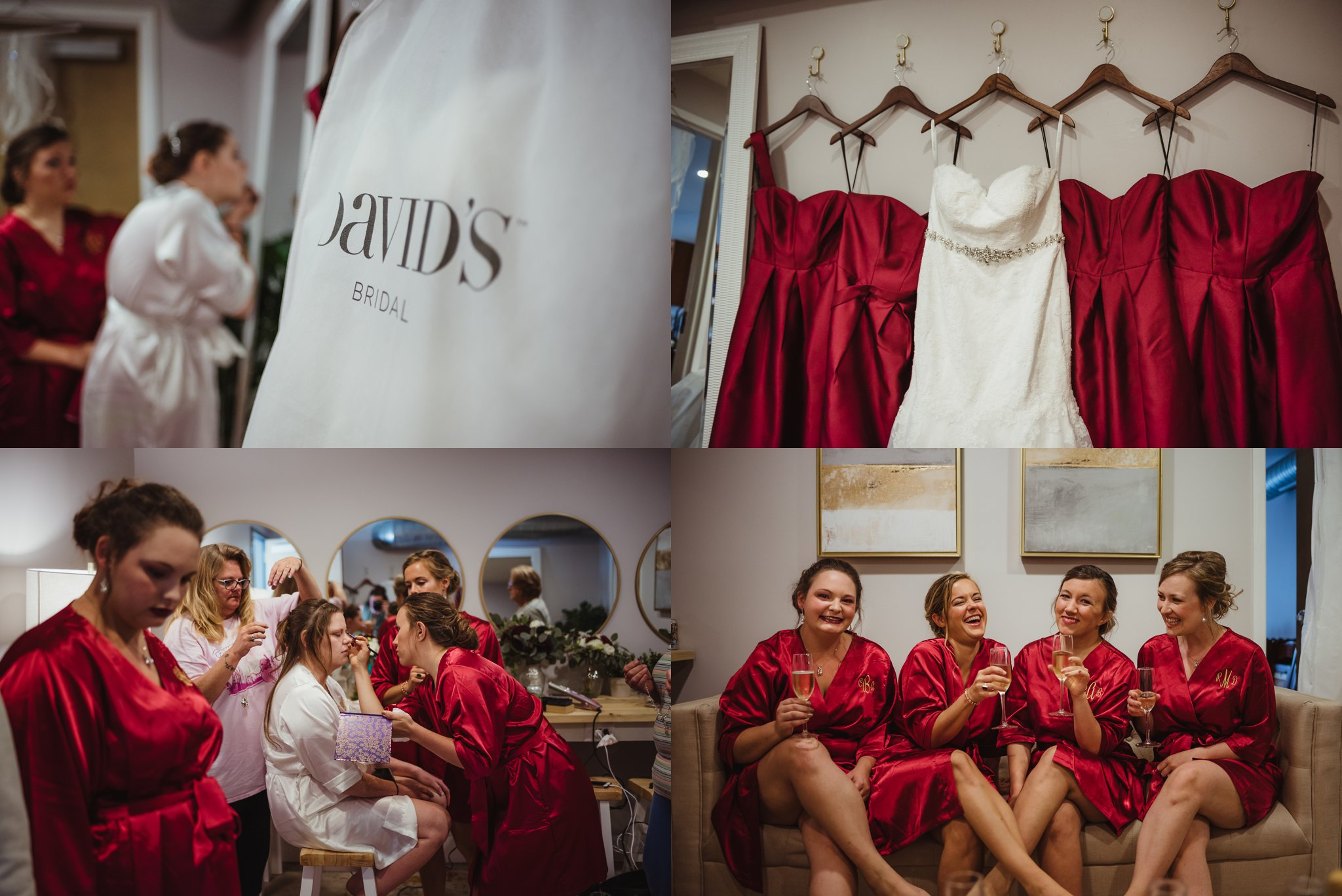 The bride and her bridesmaids get ready before the wedding ceremony in Raleigh, North Carolina, pictures by Rose Trail Images.