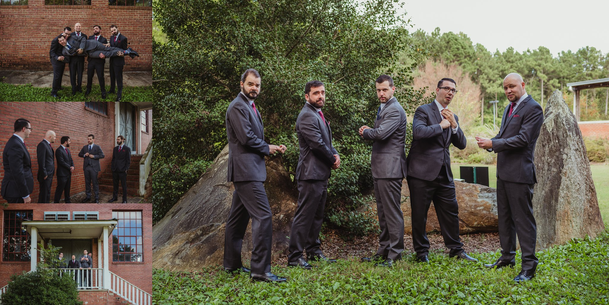 The groom and his groomsmen take pictures before the wedding ceremony in Raleigh, North Carolina, pictures by Rose Trail Images.