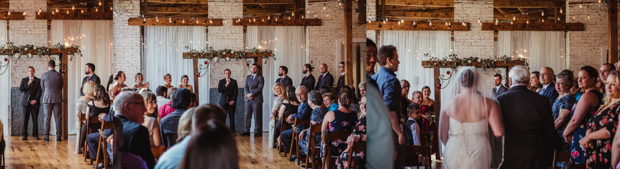 Pictures of the groom seeing his bride for the first time as she walks down the aisle at their wedding ceremony in Raleigh, North Carolina, pictures by Rose Trail Images.