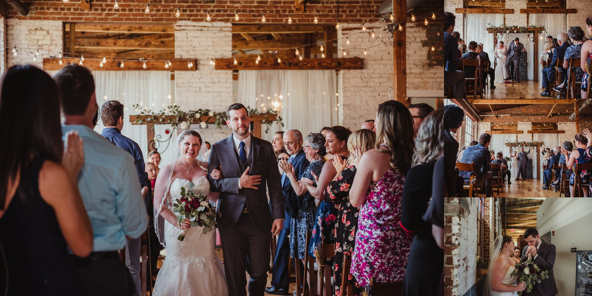 The bride and groom smash the glass and walk down the aisle after their wedding ceremony in Raleigh, North Carolina, pictures by Rose Trail Images.