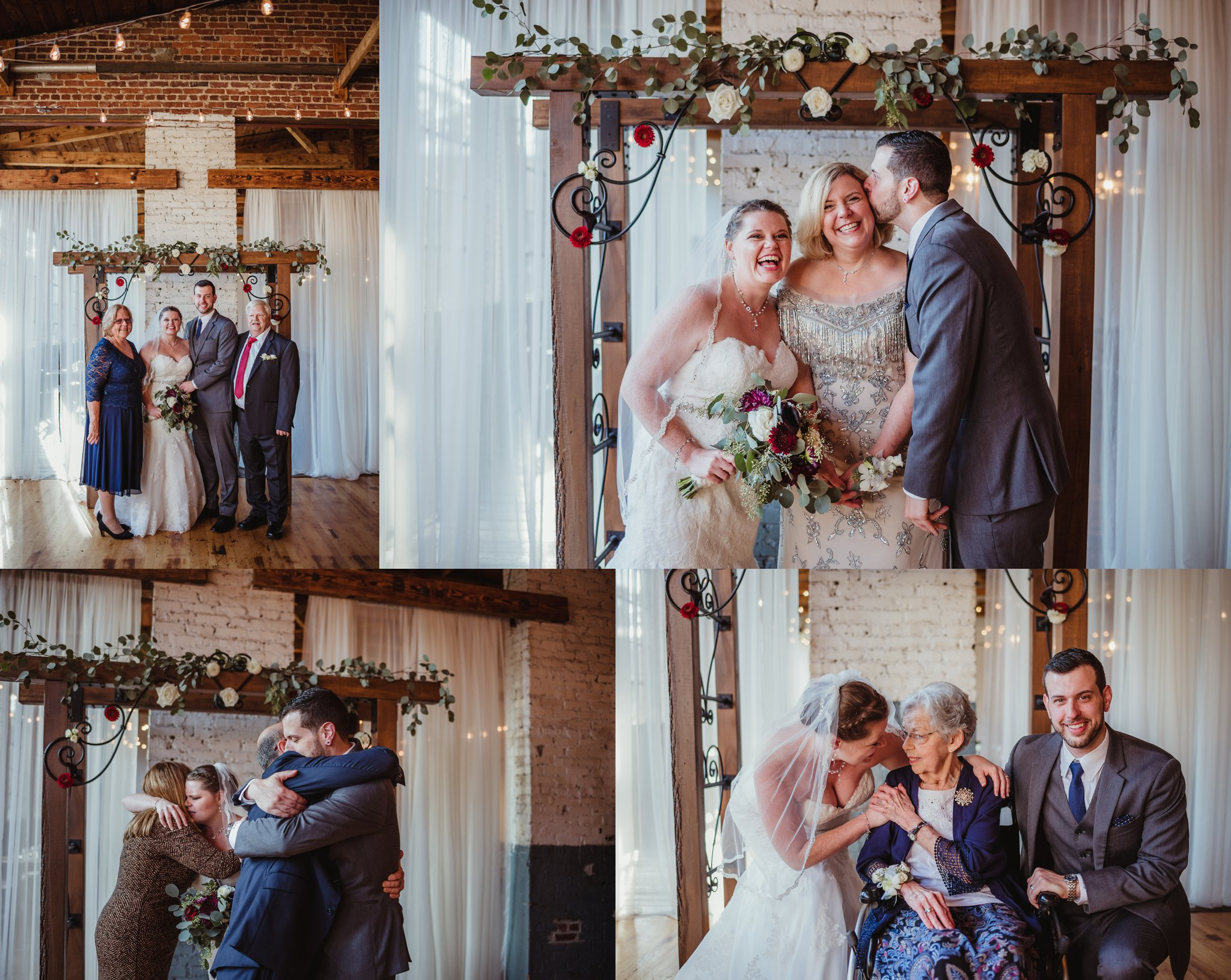 The bride and groom take family portraits after their wedding ceremony in Raleigh, North Carolina, pictures by Rose Trail Images.