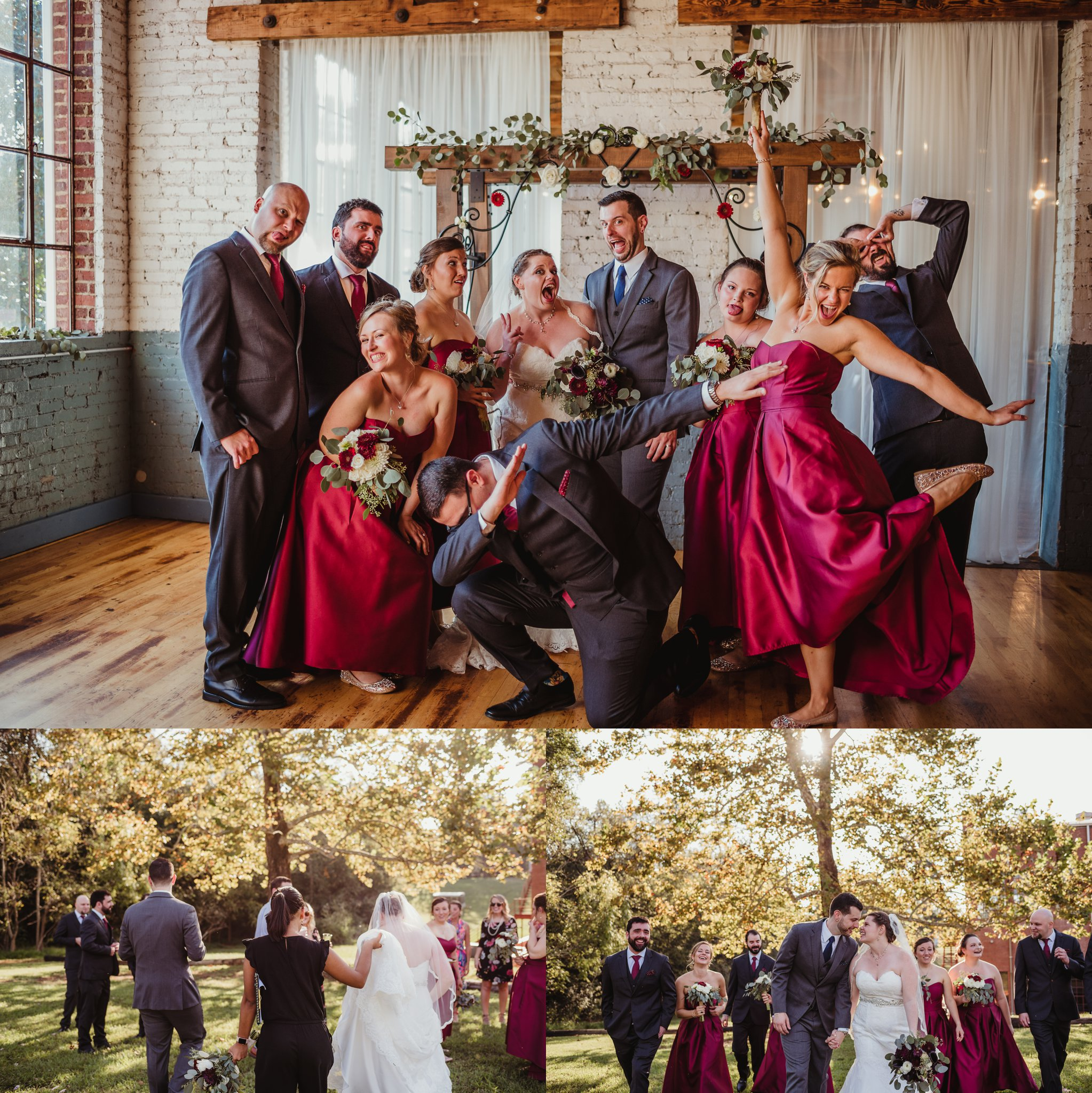 The bride and groom take portraits with their bridal party after their wedding ceremony in Raleigh, North Carolina, pictures by Rose Trail Images.