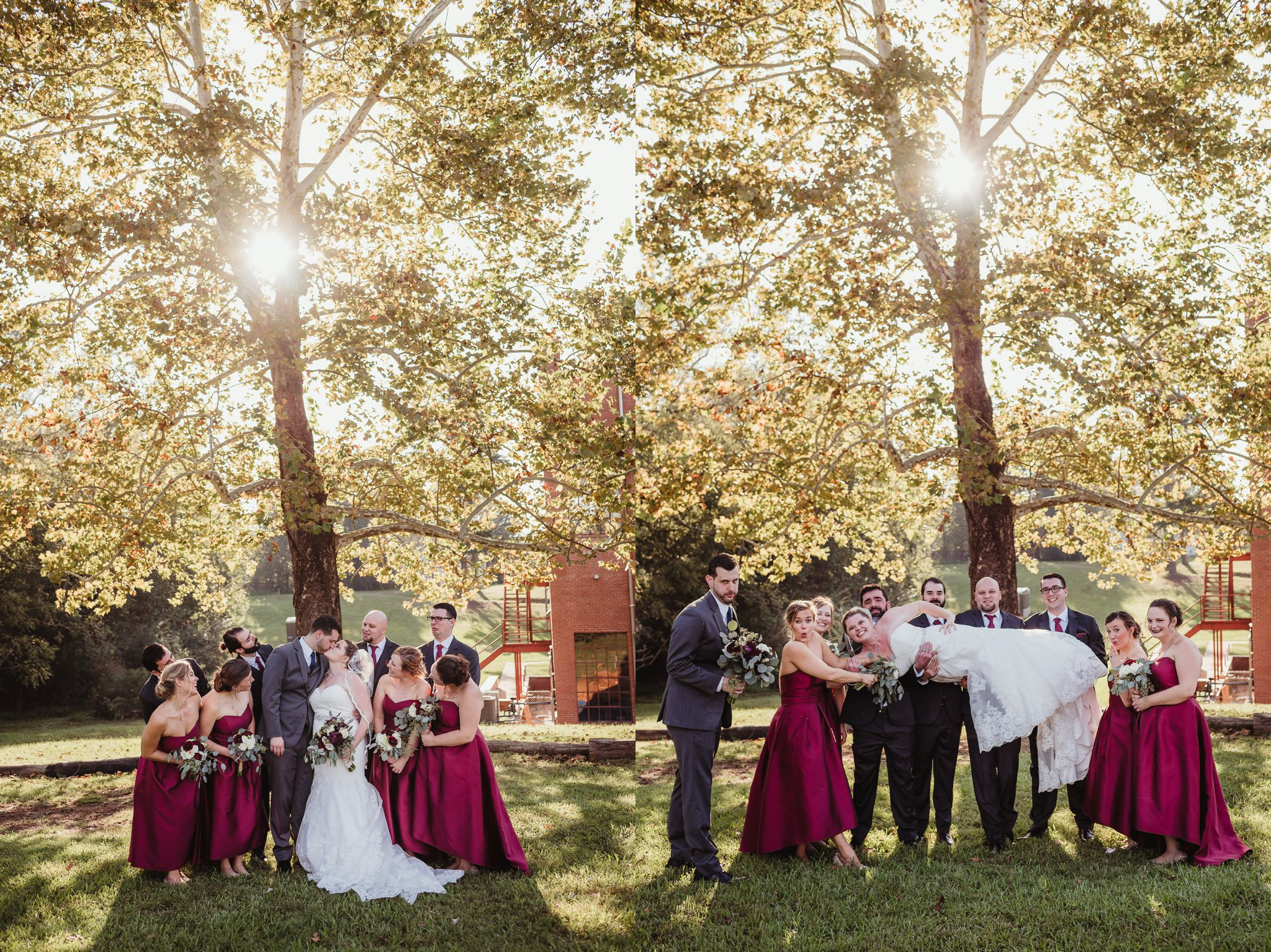The bride and groom pose for pictures with their bridal party after their wedding ceremony in Raleigh, North Carolina, pictures by Rose Trail Images.