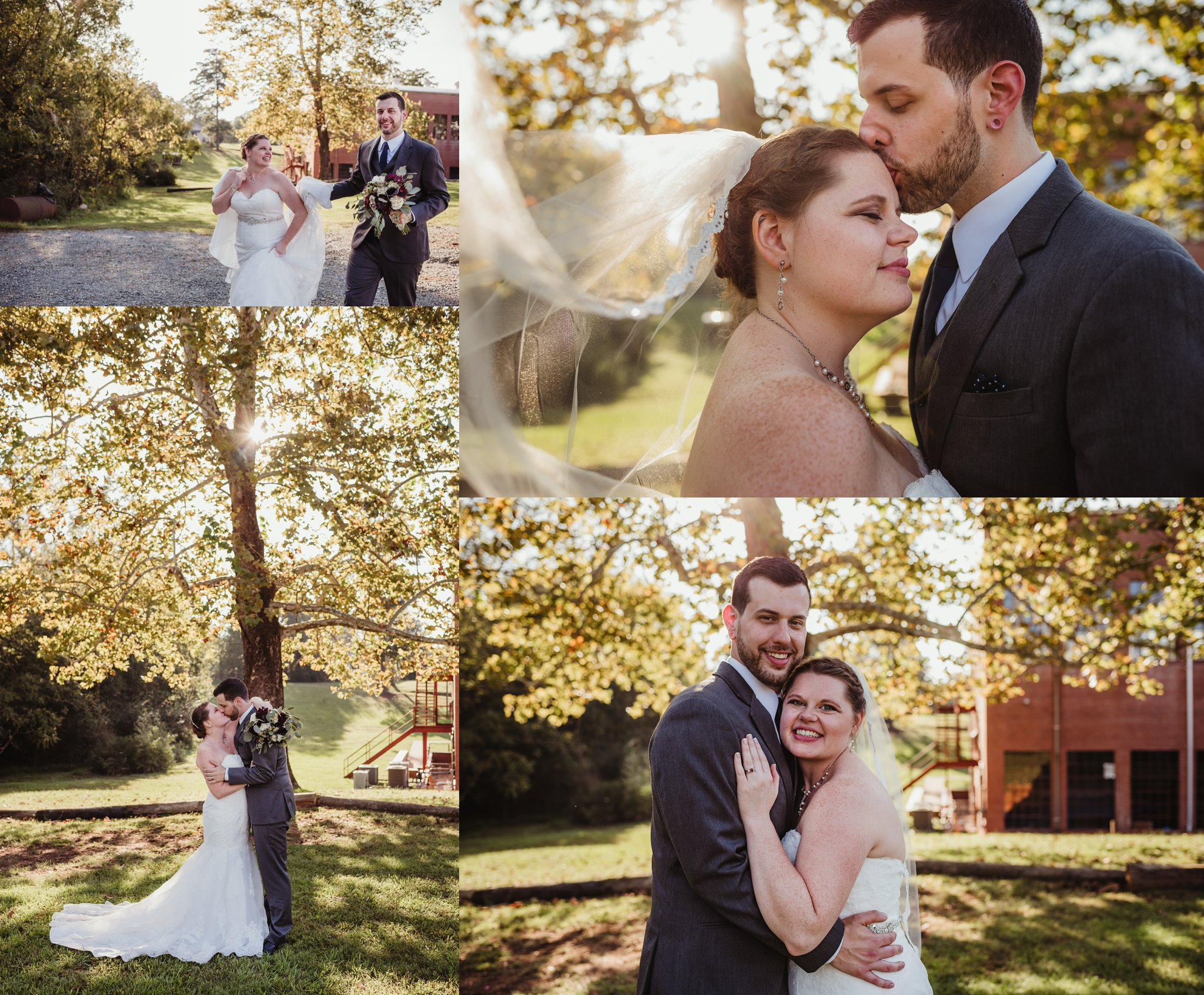 The bride and groom pose for portraits after their wedding ceremony in Raleigh, North Carolina, pictures by Rose Trail Images.