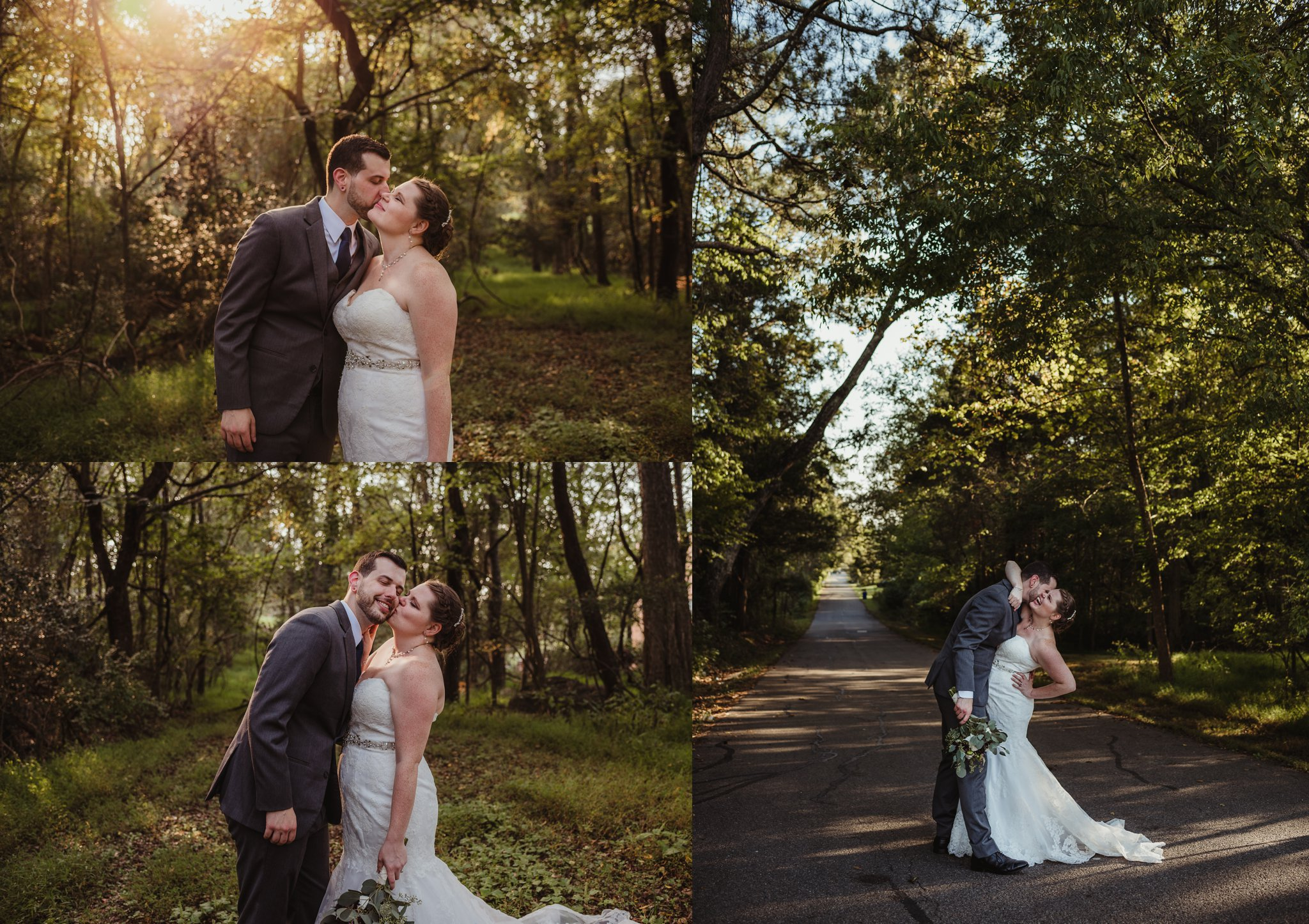 The bride and groom take portraits outside in the woods after their wedding ceremony in Raleigh, North Carolina, pictures by Rose Trail Images.