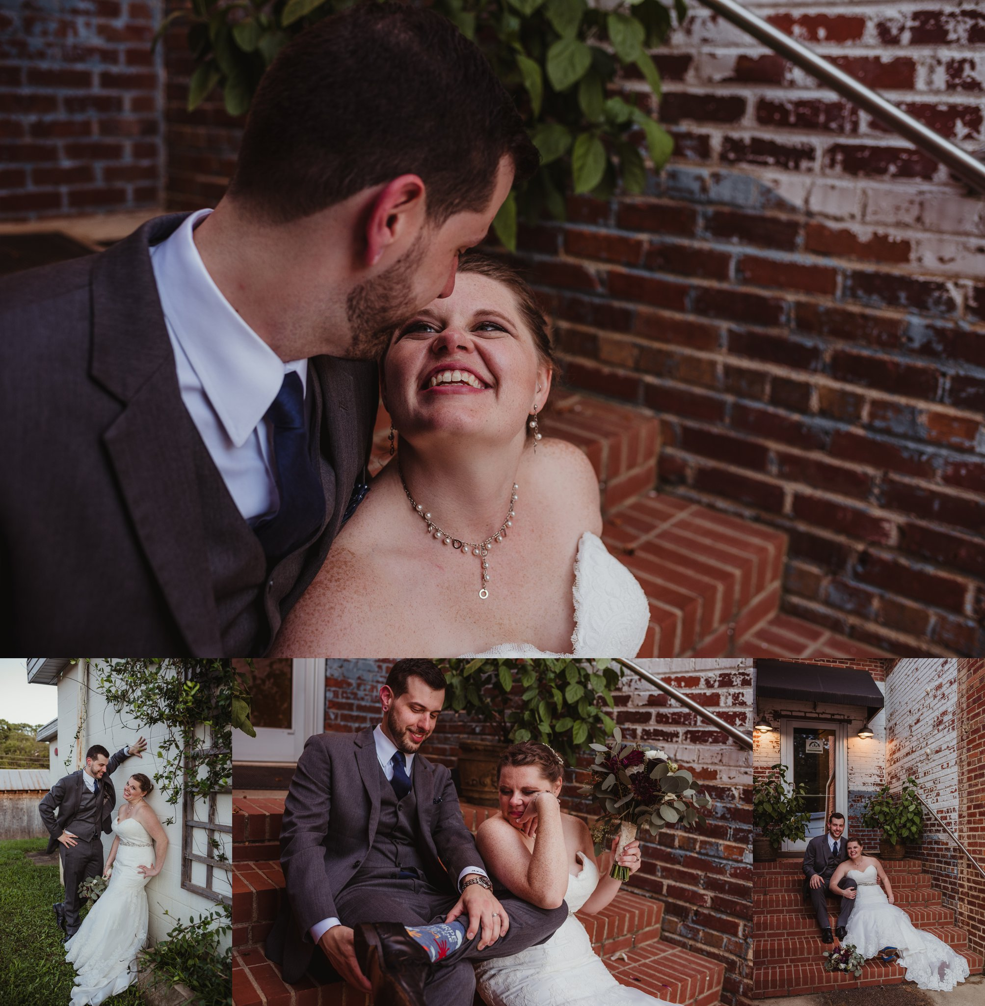 The bride and groom take portraits outside by the brick stairs after their wedding ceremony in Raleigh, North Carolina, pictures by Rose Trail Images.