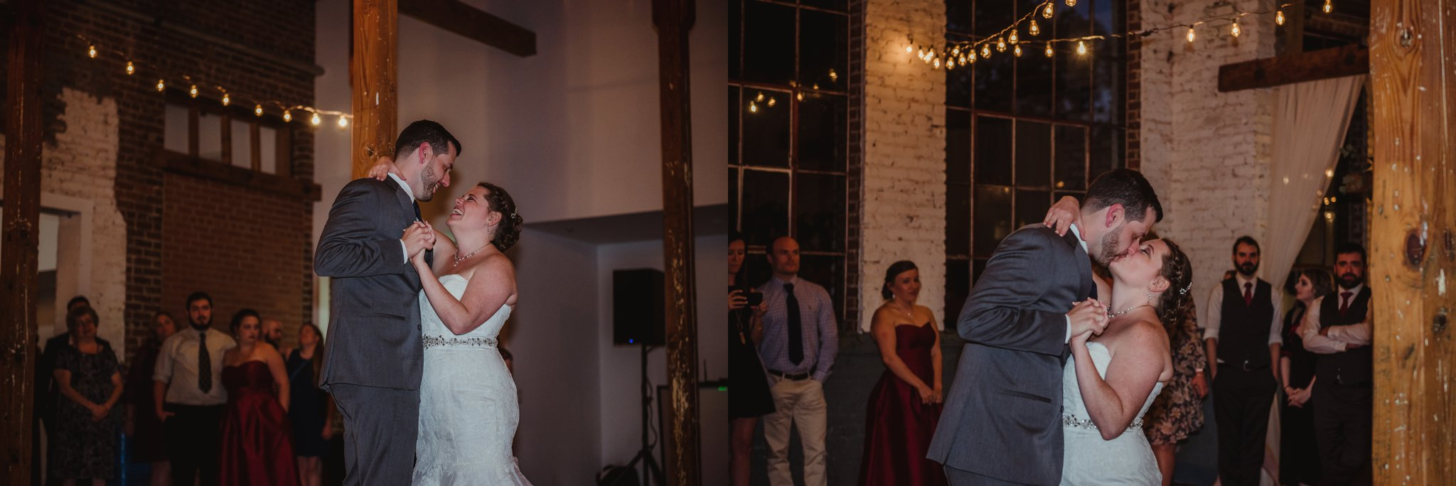 The bride and groom danced their first dance at their wedding reception in Raleigh, North Carolina, pictures by Rose Trail Images.