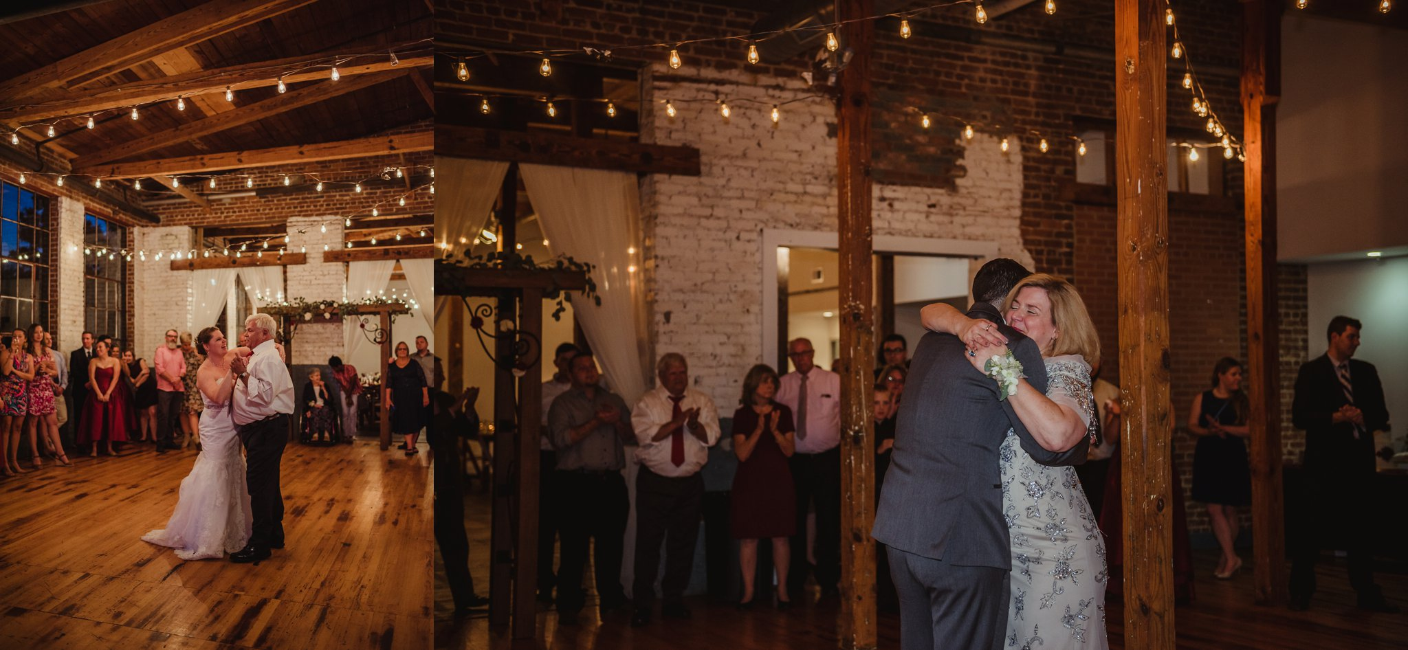 The bride and groom danced with their parents at their wedding reception in Raleigh, North Carolina, pictures by Rose Trail Images.