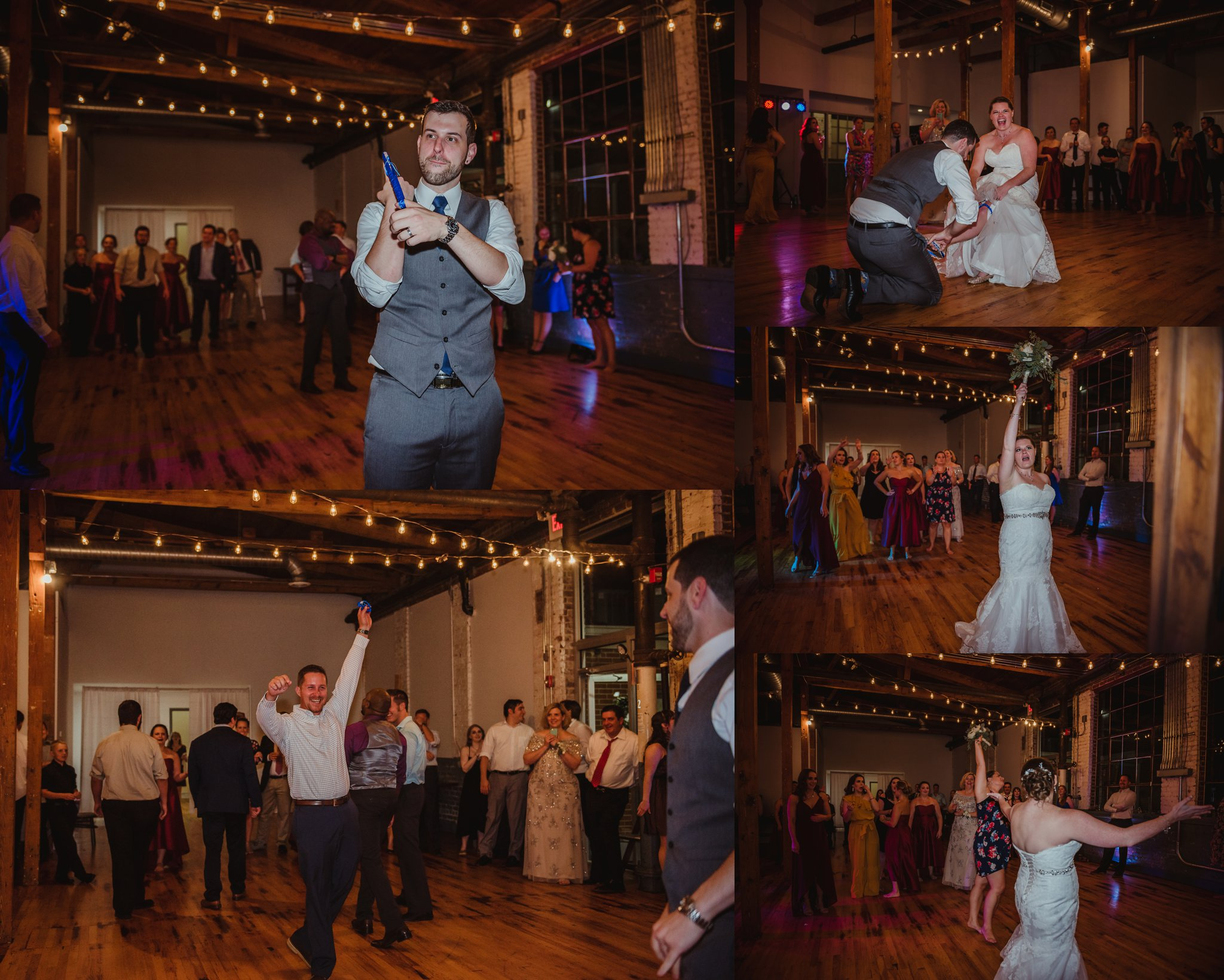 The bride and groom threw the bouquet and the garter at their wedding reception in Raleigh, North Carolina, pictures by Rose Trail Images.