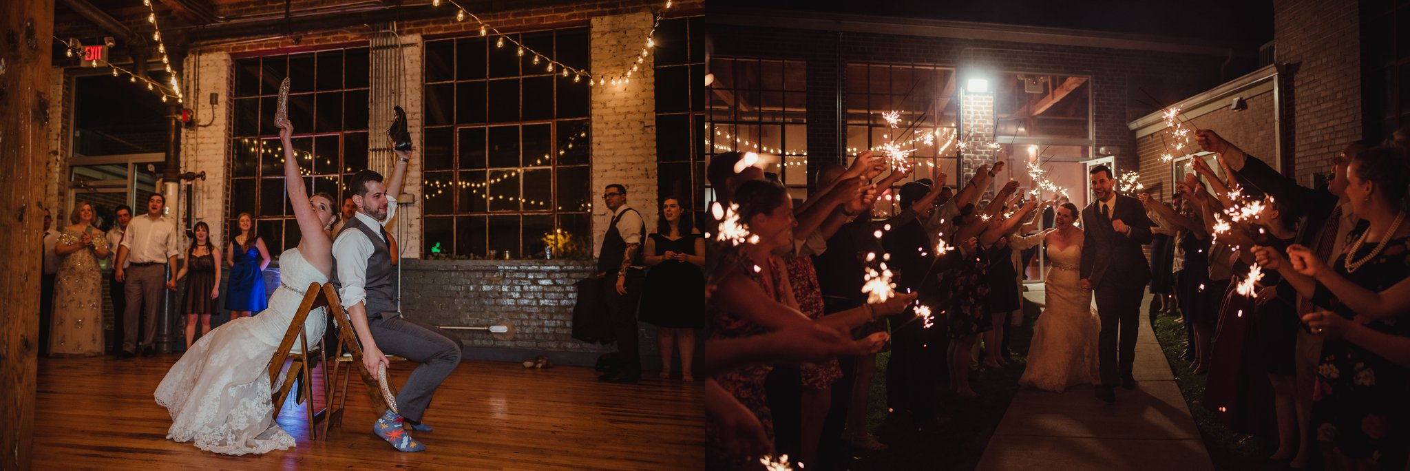 The bride and groom played the shoe game and got ready for sparklers at their wedding reception in Raleigh, North Carolina, pictures by Rose Trail Images.
