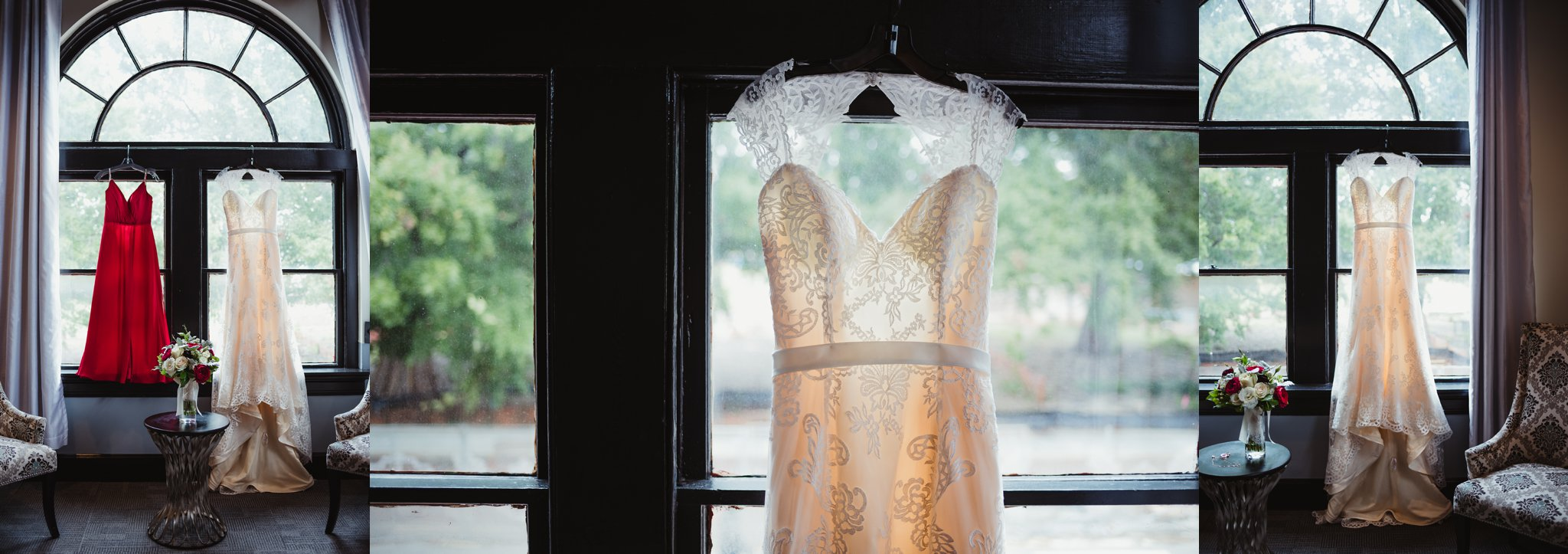 Wedding details include the lace dress, gorgeous flowers, and red bridesmaid dresses from the wedding in downtown Raleigh, photos by Rose Trail Images.