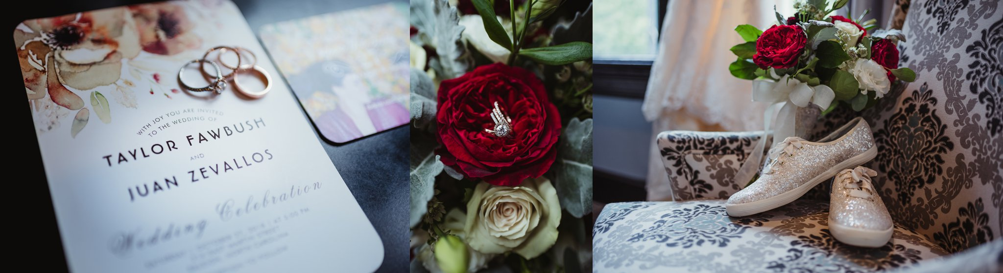 Wedding details include the invitation, rose gold wedding bands, and Kate Spade tennis shoes from the wedding in downtown Raleigh, photos by Rose Trail Images.