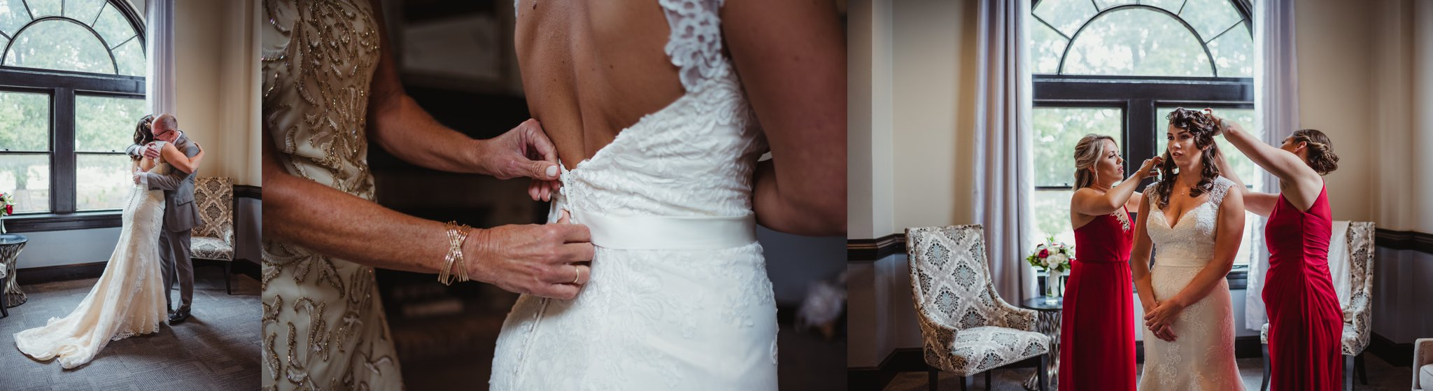 Wedding details include the lace wedding gown, the bride getting ready, and a father's first look at his daughter before the wedding in downtown Raleigh, photos by Rose Trail Images.