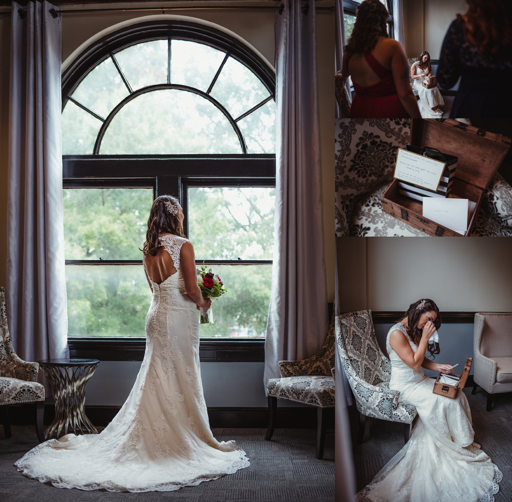 The bride took portraits and read notes from her groom before her wedding ceremony  in downtown Raleigh, photos by Rose Trail Images.