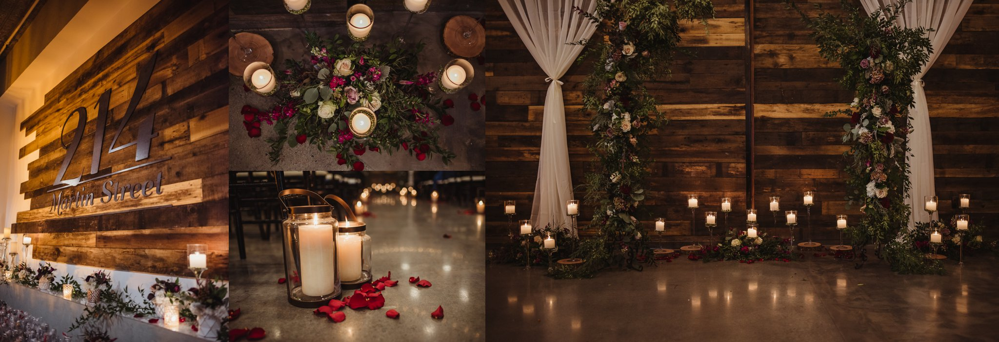 Details of the wedding ceremony in downtown Raleigh included lots of candles and gorgeous greenery and flowers, photos by Rose Trail Images.
