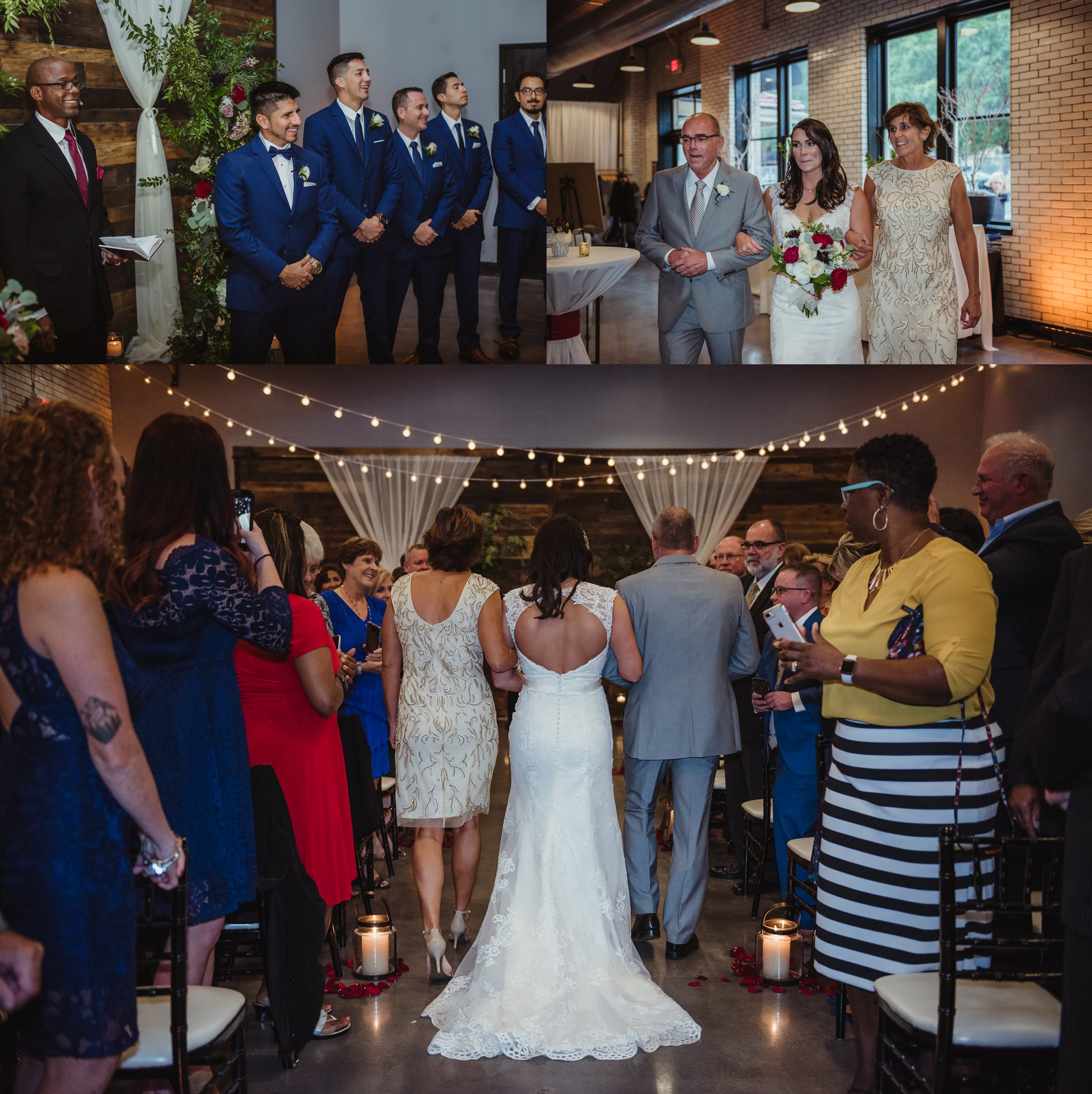 The bride and groom seeing each other for the first time at their wedding ceremony in downtown Raleigh, photos by Rose Trail Images.