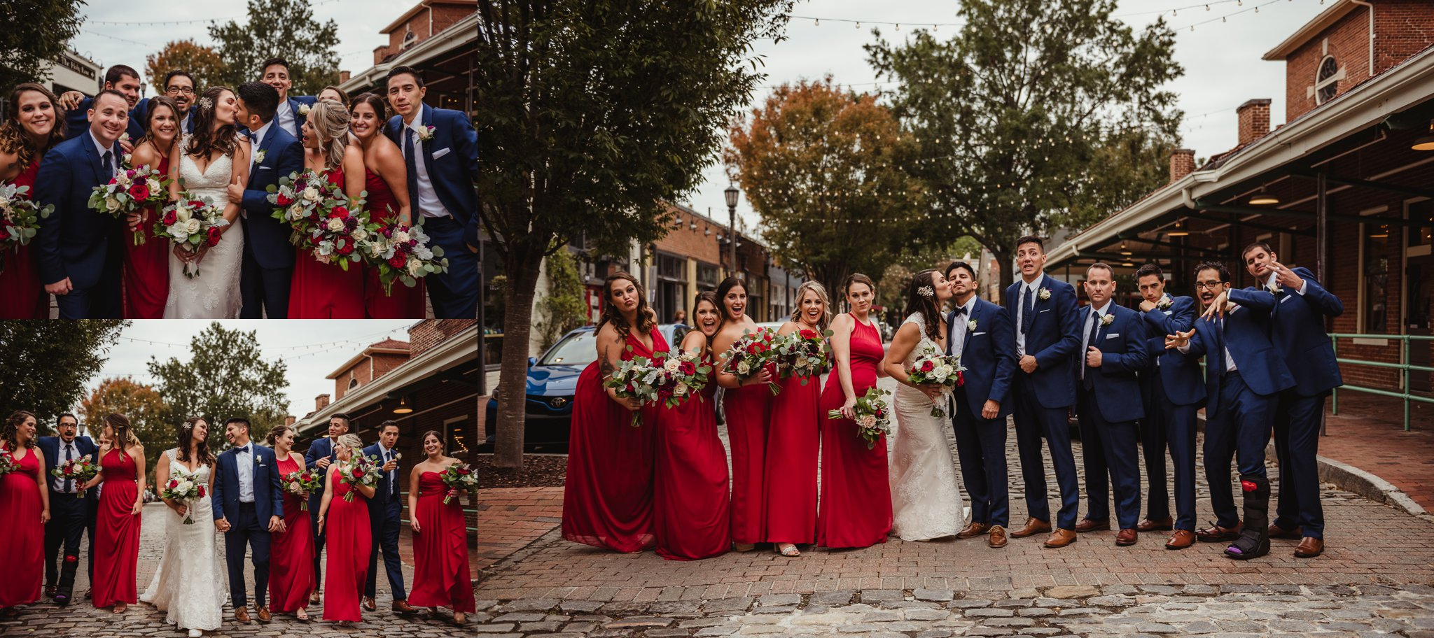 The bridal party took group portraits outside at Market Hall after wedding ceremony in downtown Raleigh, photos by Rose Trail Images.