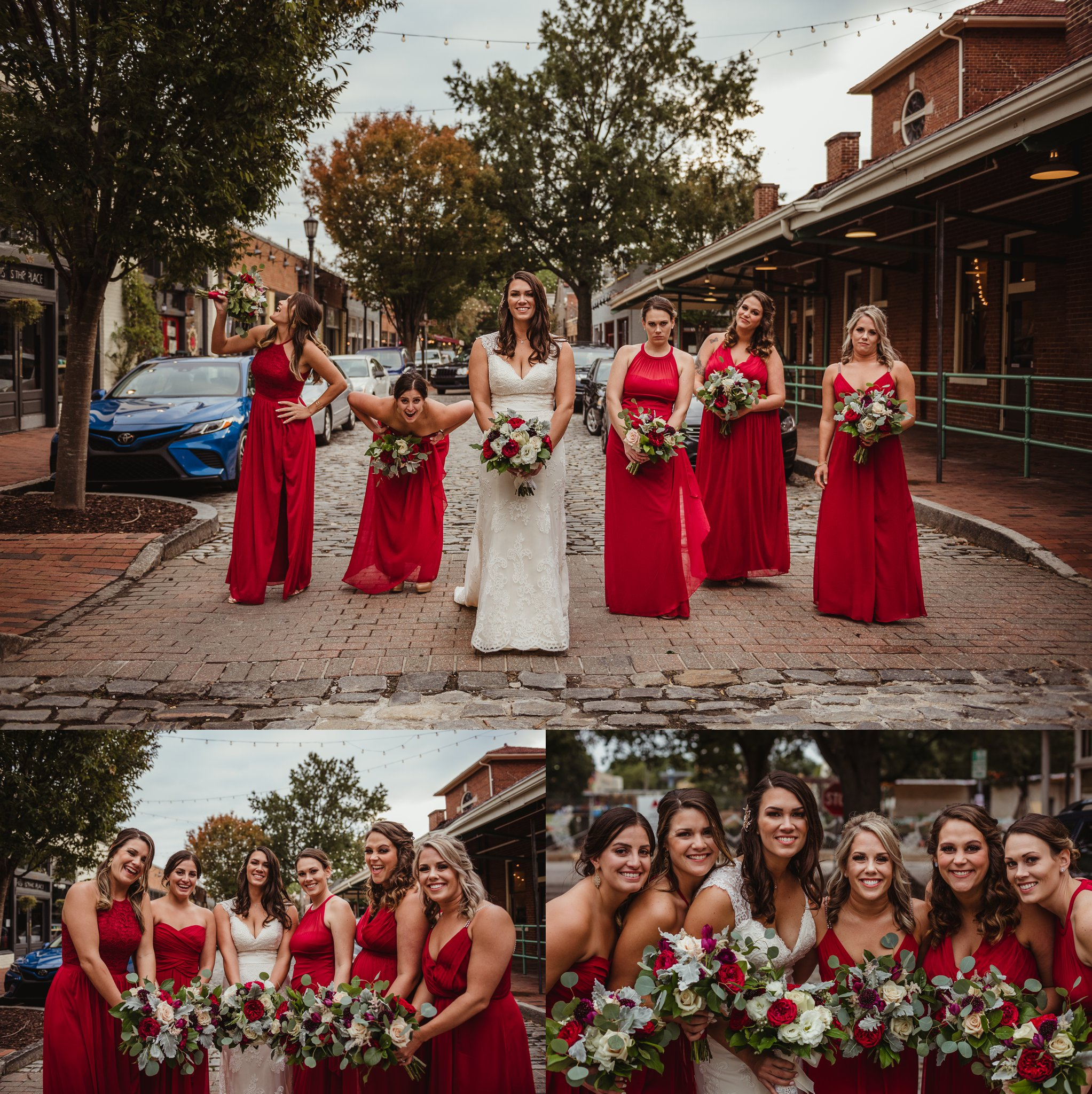 The bridesmaids and bride took group portraits outside at Market Hall after wedding ceremony in downtown Raleigh, photos by Rose Trail Images.