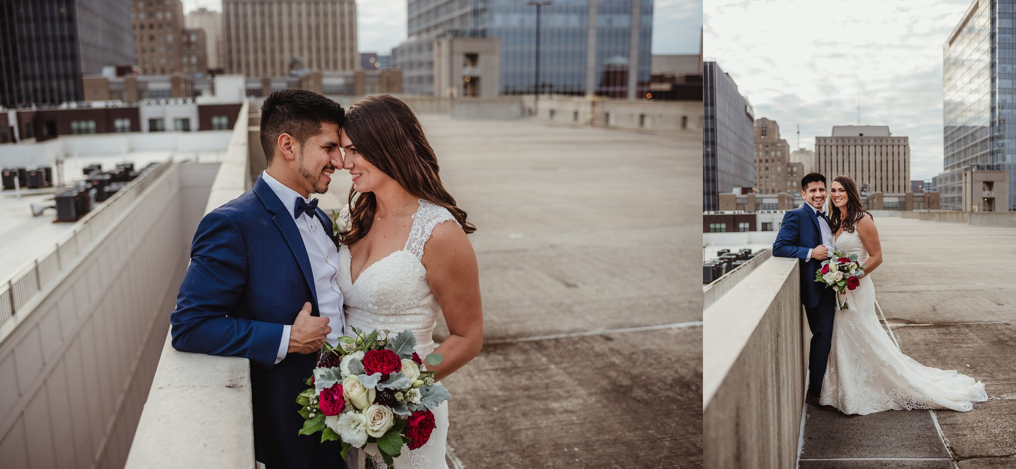 The bride and groom took rooftop portraits outside after their wedding ceremony in downtown Raleigh, photos by Rose Trail Images.