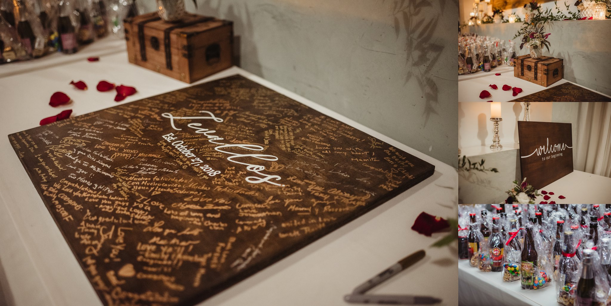 Details from the wedding reception in downtown Raleigh include a wooden sign for guests to sign, beer and nuts as a wedding favor, and the beautiful chest given to the bride that day by her groom, photos by Rose Trail Images.