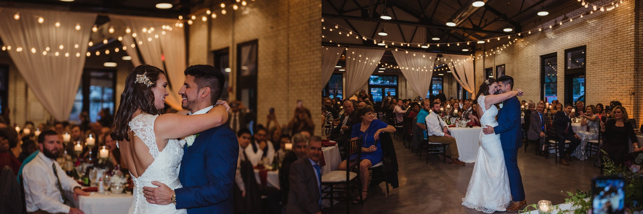 The bride and groom danced their first dance together at their wedding reception at Market Hall in downtown Raleigh, photos by Rose Trail Images.