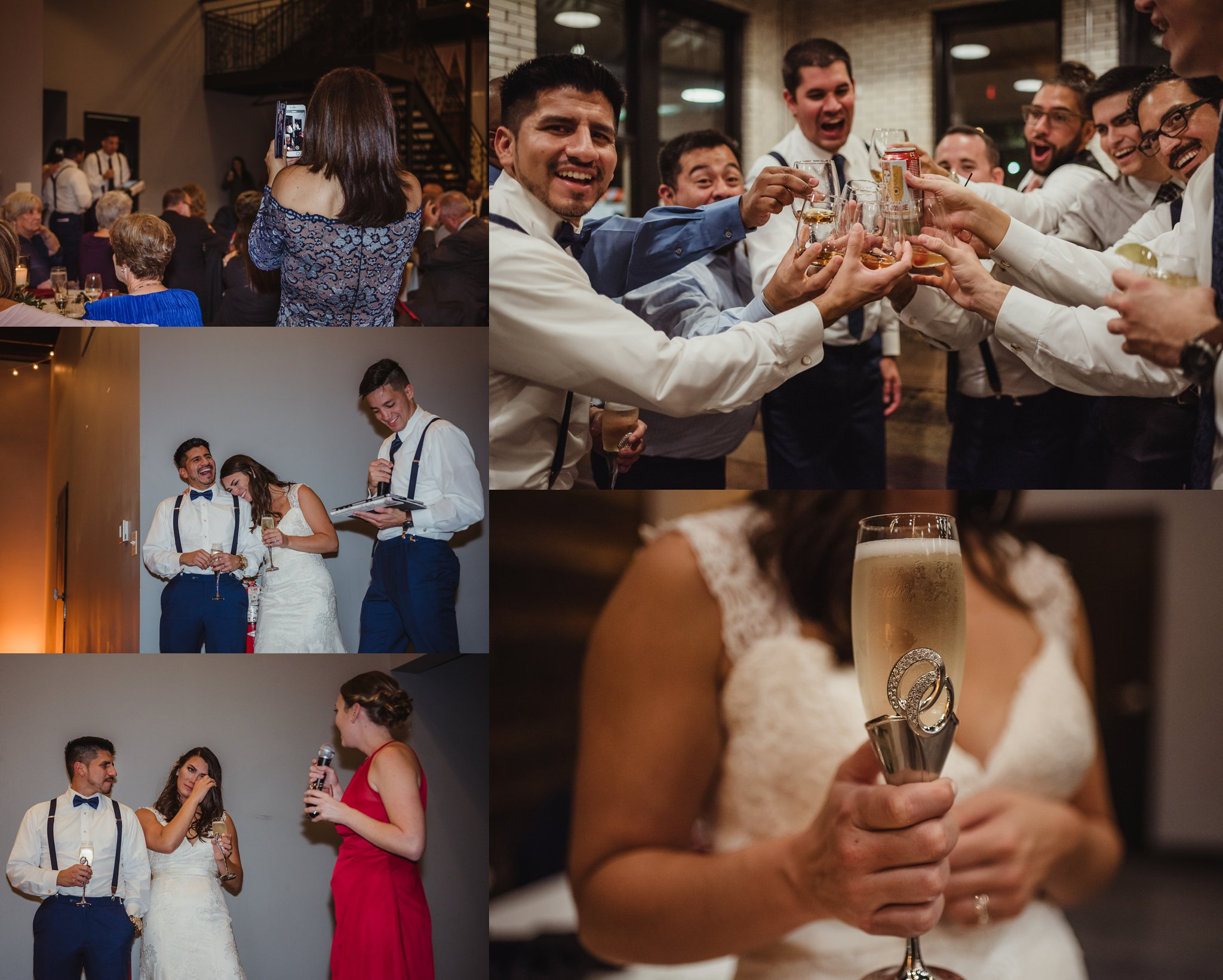 The bride and groom, along with their guests, enjoyed toasts by the maid of honor and best man at their wedding reception at Market Hall in downtown Raleigh, photos by Rose Trail Images.