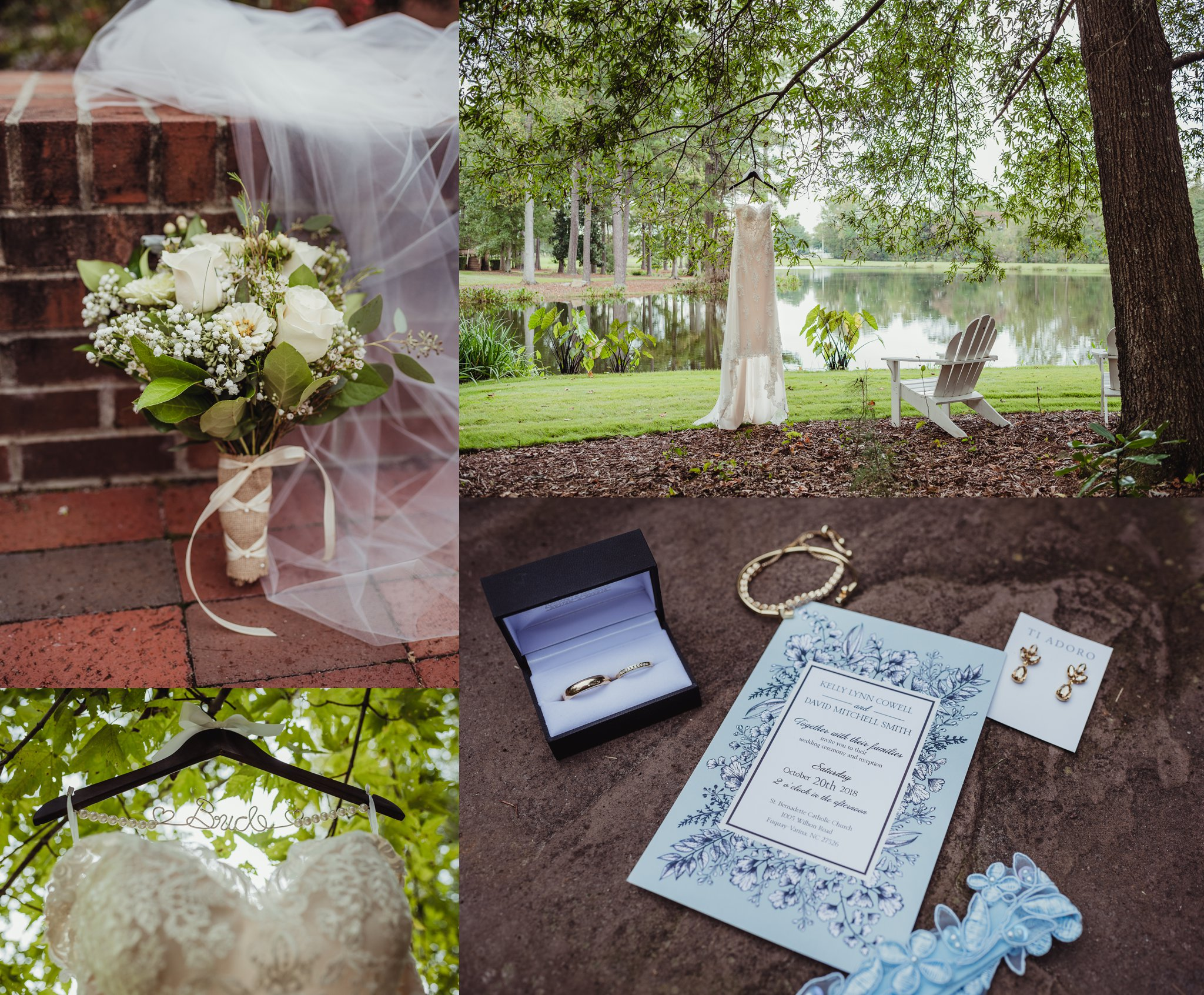 Details of the wedding at the Little Herb House in Raleigh, North Carolina include the wedding dress, white flowers, and a light blue invitation. Photo by Rose Trail Images.