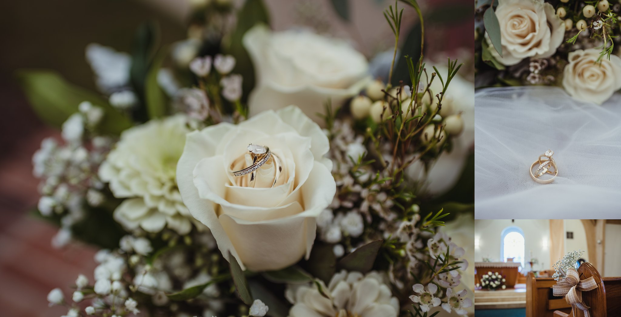 Details of the wedding at Saint Bernadette's Catholic Church in Fuquay Varina, North Carolina include burlap, white flowers, and simple gold and diamond wedding rings. Photo by Rose Trail Images.