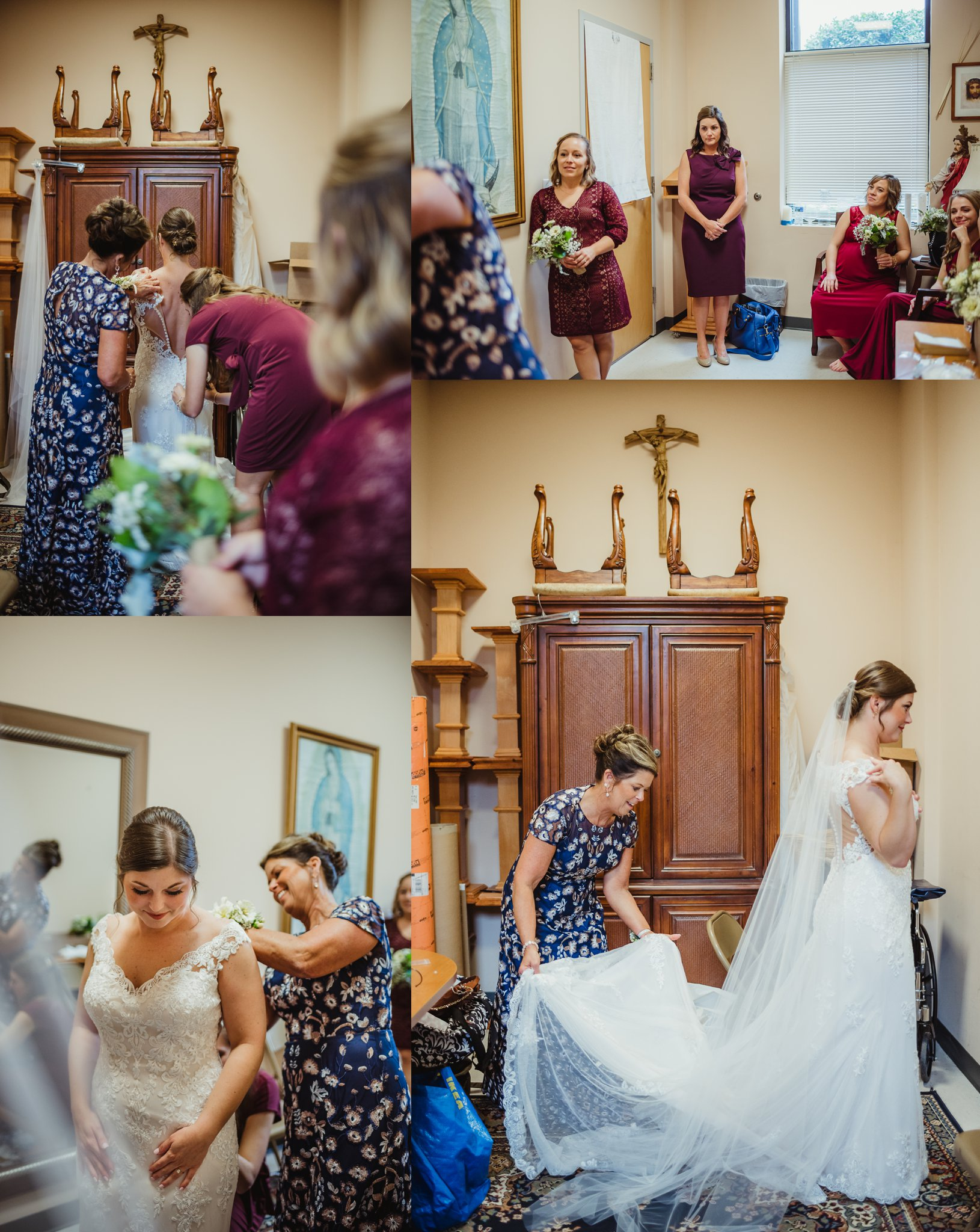The bride gets dressed before her wedding ceremony at Saint Bernadette's Catholic Church in Fuquay Varina, North Carolina. Photo by Rose Trail Images.