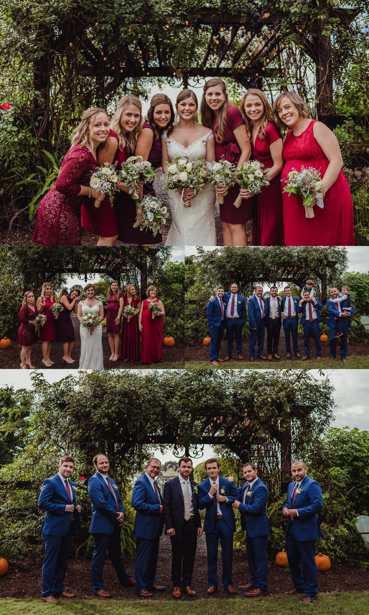 The bridal party takes fun pictures before the wedding reception at the Little Herb House in Raleigh, North Carolina. Photos by Rose Trail Images.