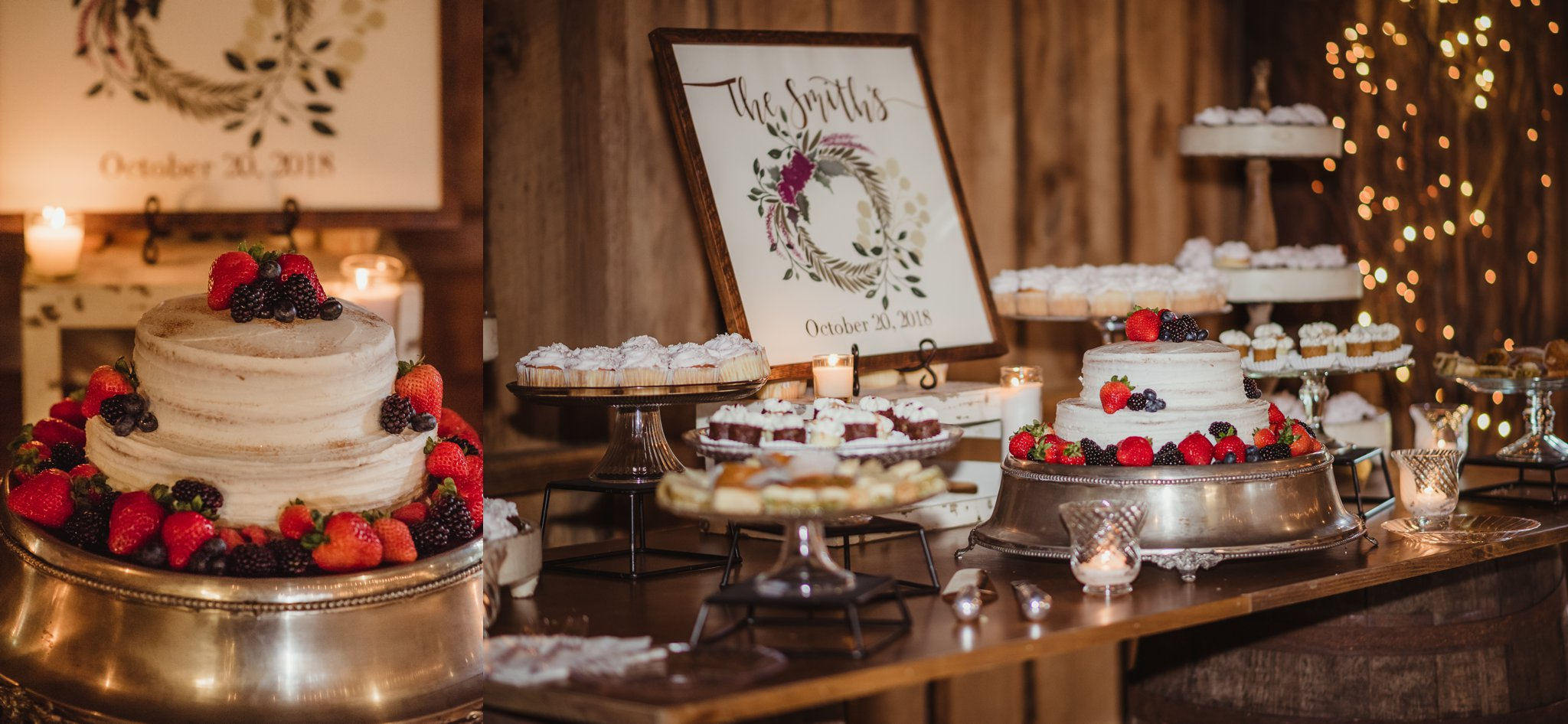 The dessert table at their wedding reception at the Little Herb House in Raleigh, North Carolina included pie, cupcakes, and cake adorned with fresh fruit. Photos by Rose Trail Images.