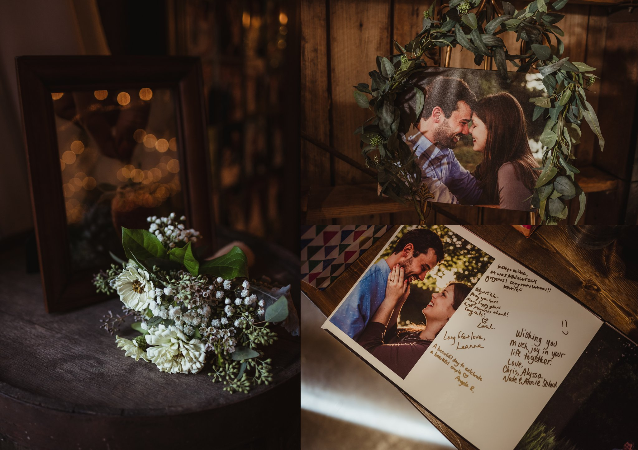 The bride and groom made a guest book from their engagement photos, displayed at their wedding reception at the Little Herb House in Raleigh, North Carolina. Photos by Rose Trail Images.