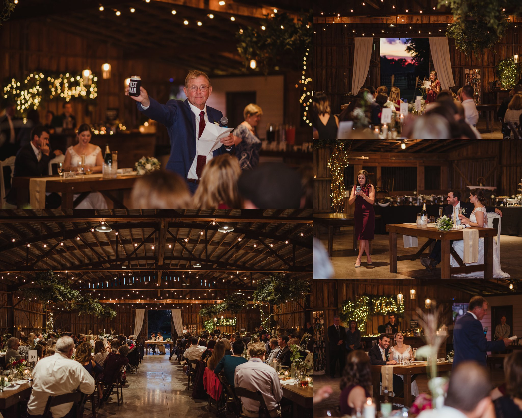 Toasts were given to the bride and groom during their wedding reception at the Little Herb House in Raleigh, North Carolina. Photos by Rose Trail Images.