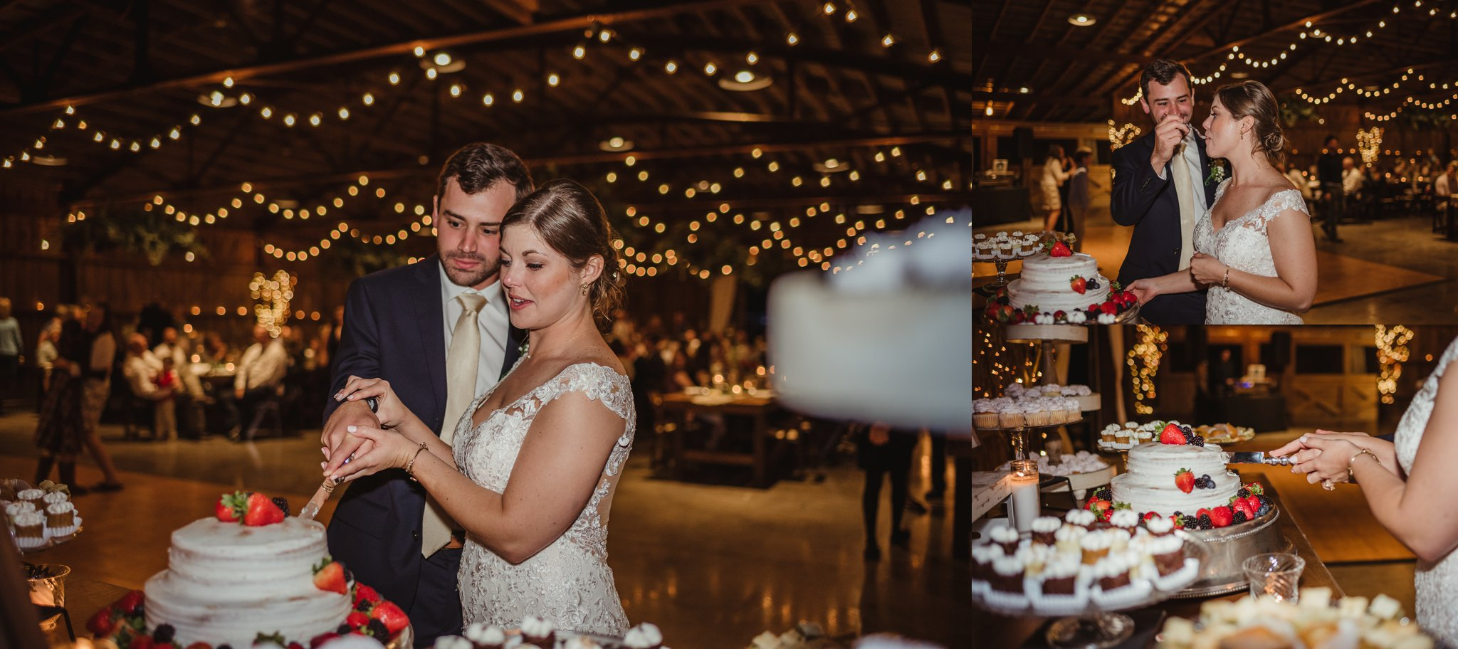 The bride and groom cut and enjoyed their cake during their wedding reception at the Little Herb House in Raleigh, North Carolina. Photos by Rose Trail Images.