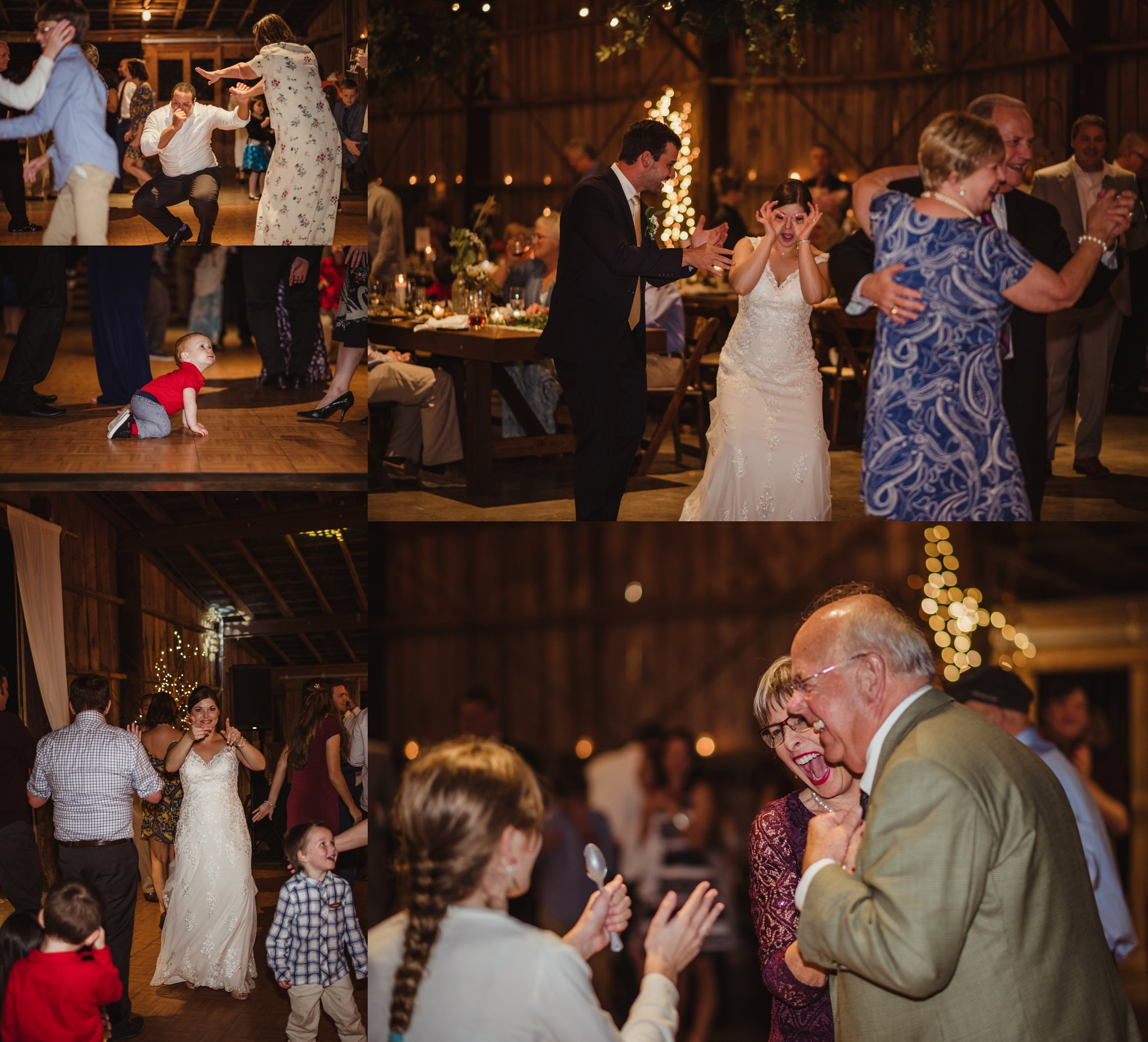 The bride and groom and their guests enjoy the anniversary dance during their wedding reception at the Little Herb House in Raleigh, North Carolina. Photos by Rose Trail Images.