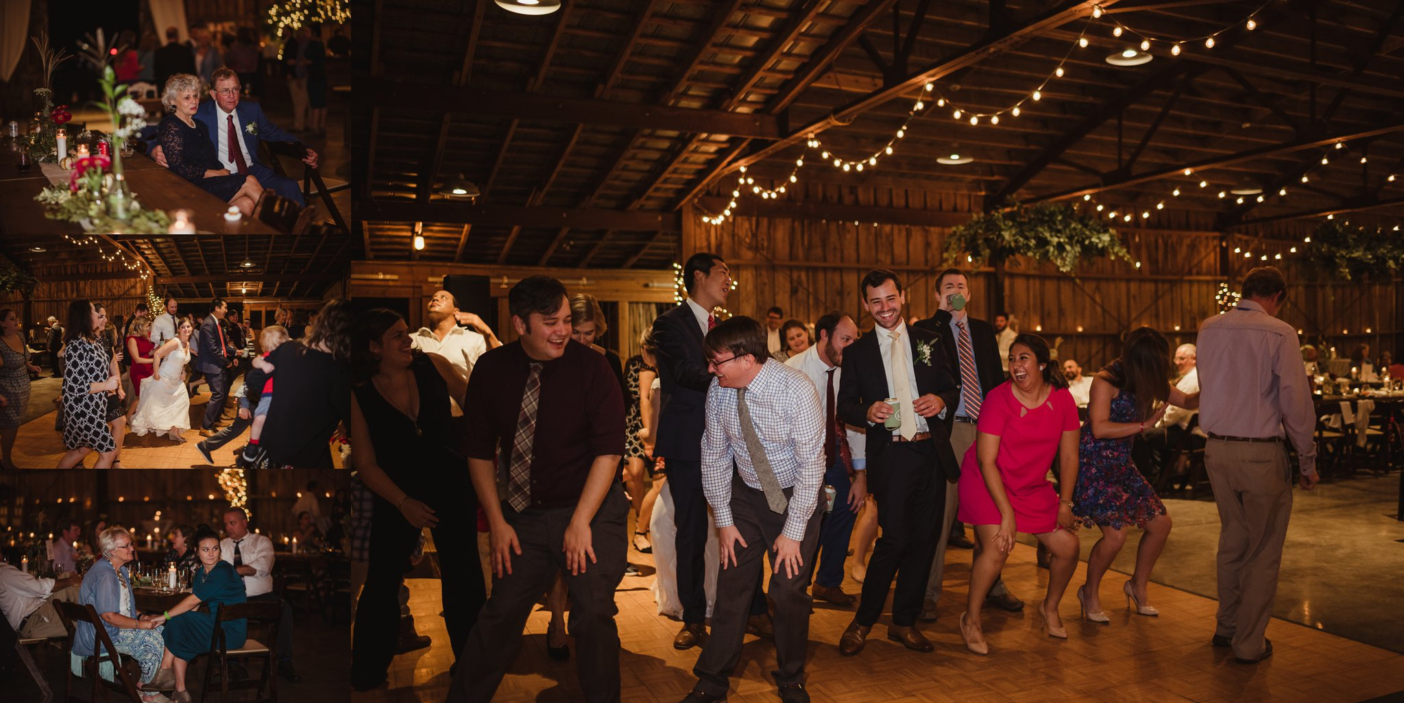 The bride and groom and their guests enjoy dancing during their wedding reception at the Little Herb House in Raleigh, North Carolina. Photos by Rose Trail Images.