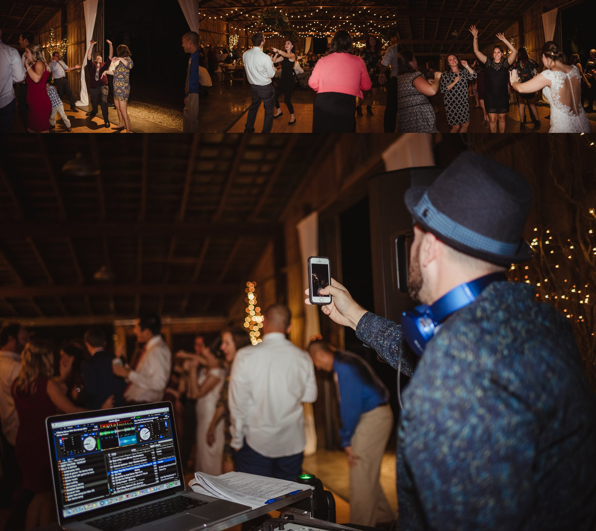 The guests enjoy dancing during the wedding reception at the Little Herb House in Raleigh, North Carolina. Photos by Rose Trail Images.
