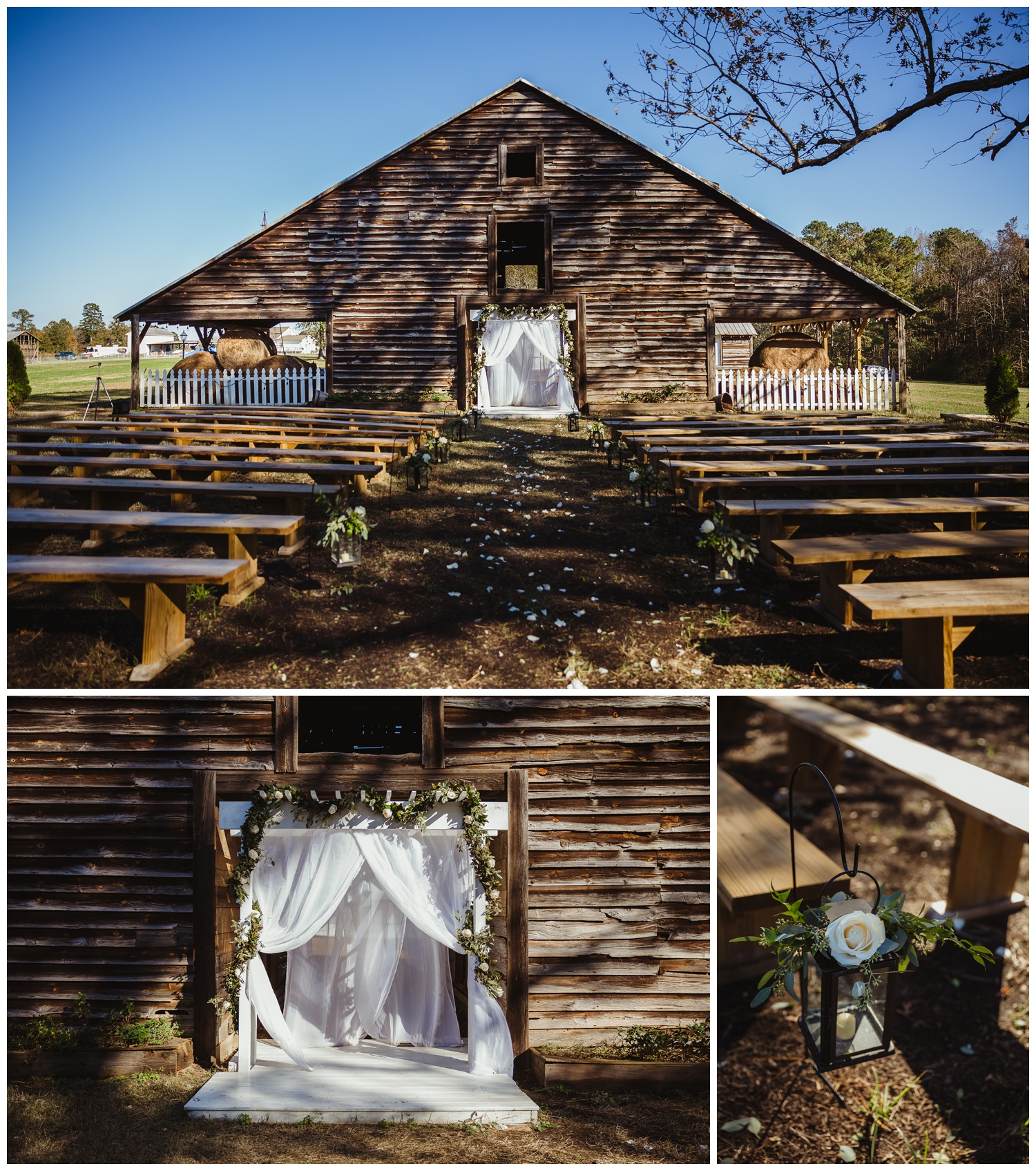 The Warren Estate has a beautiful barn set up for a wedding ceremony, images by Rose Trail Images of Rolesville, NC.