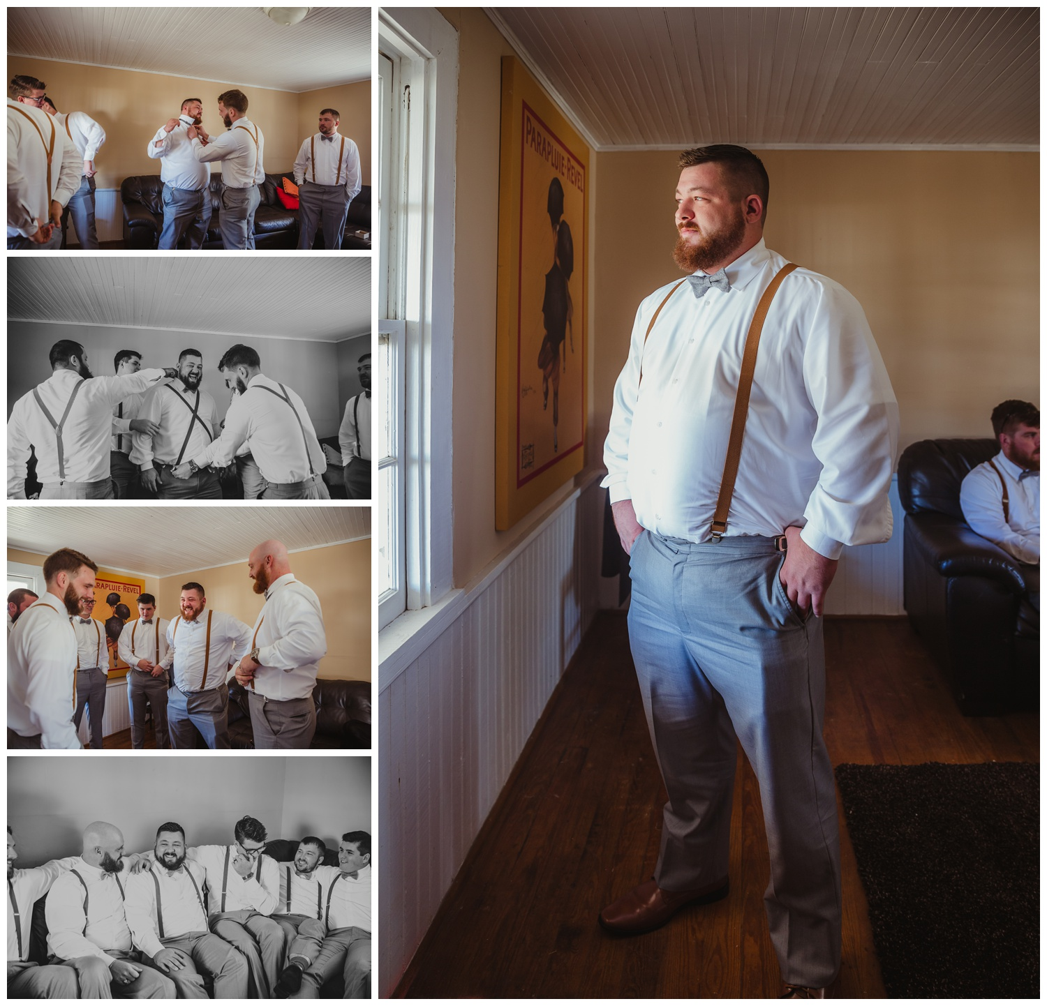 The groom takes some time with his groomsmen before the wedding at The Warren Estate, images by Rose Trail Images of Rolesville, NC.